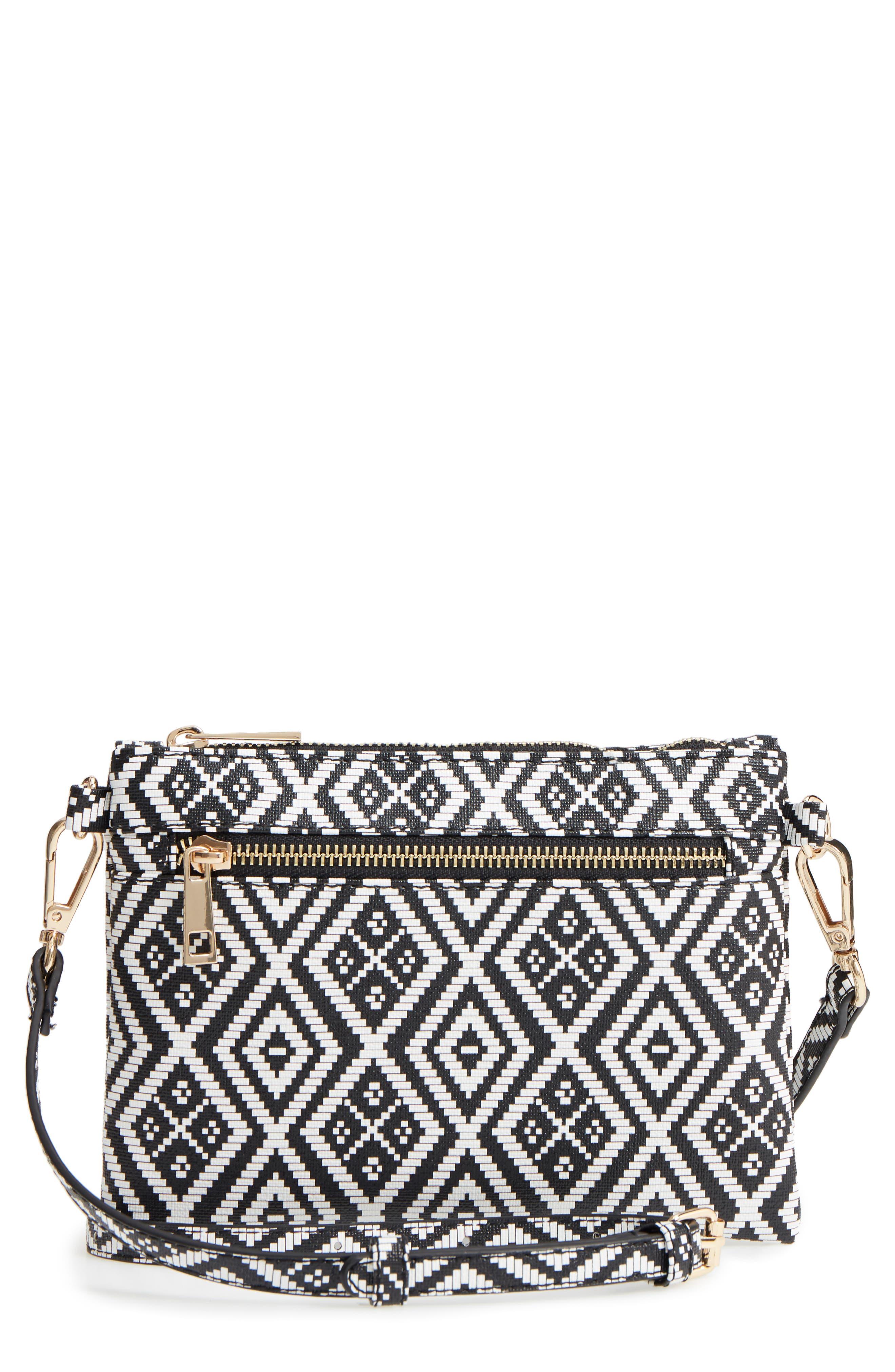 Weave Pattern Convertible Crossbody Wristlet,                         Main,                         color, Black/ White