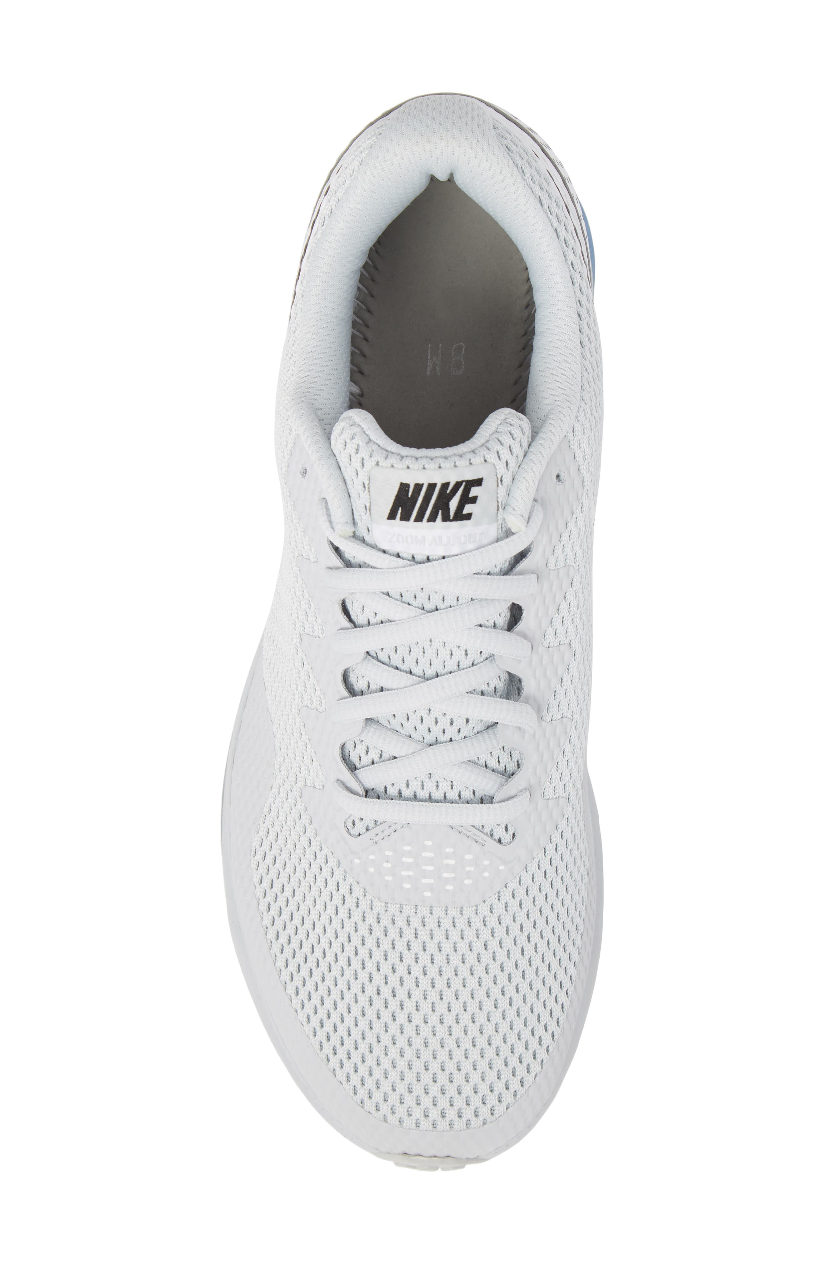 Zoom All Out Low 2 Running Shoe,                             Alternate thumbnail 7, color,                             Pure Platinum/ Black/ White
