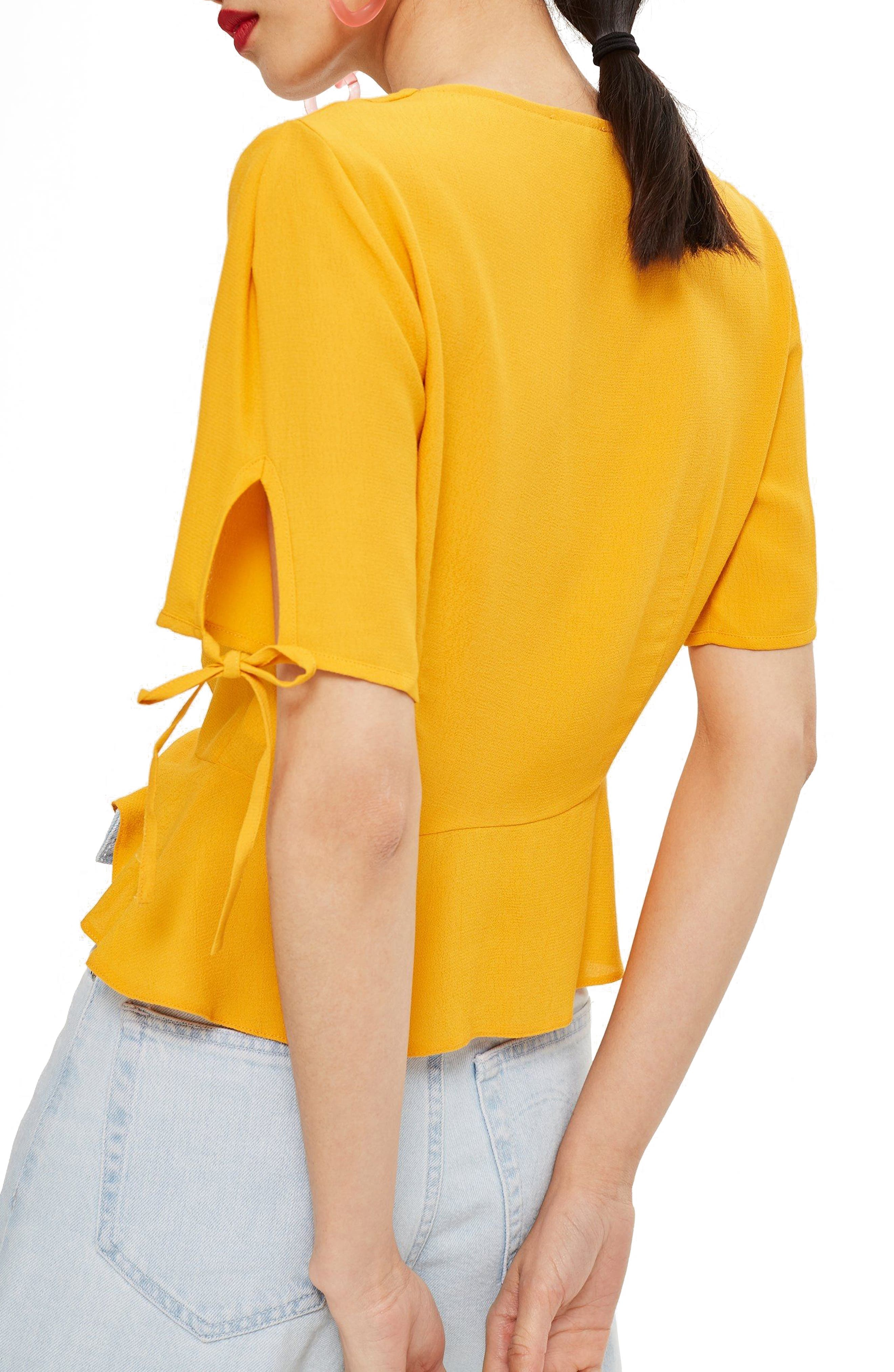Bryony Tea Button Front Blouse,                             Alternate thumbnail 3, color,                             Yellow