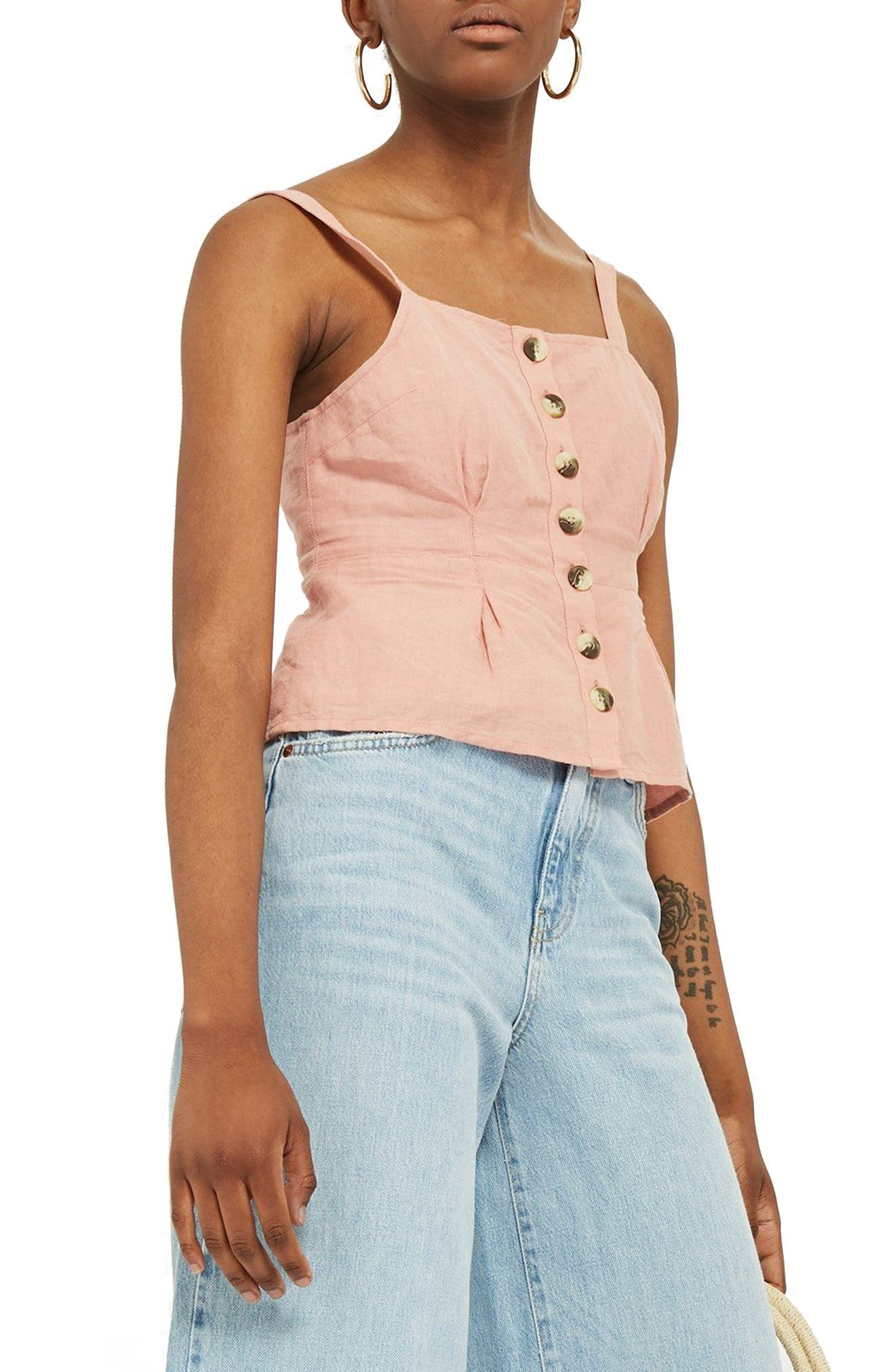 Structured Button Camisole Top,                             Main thumbnail 1, color,                             Dusty Pink