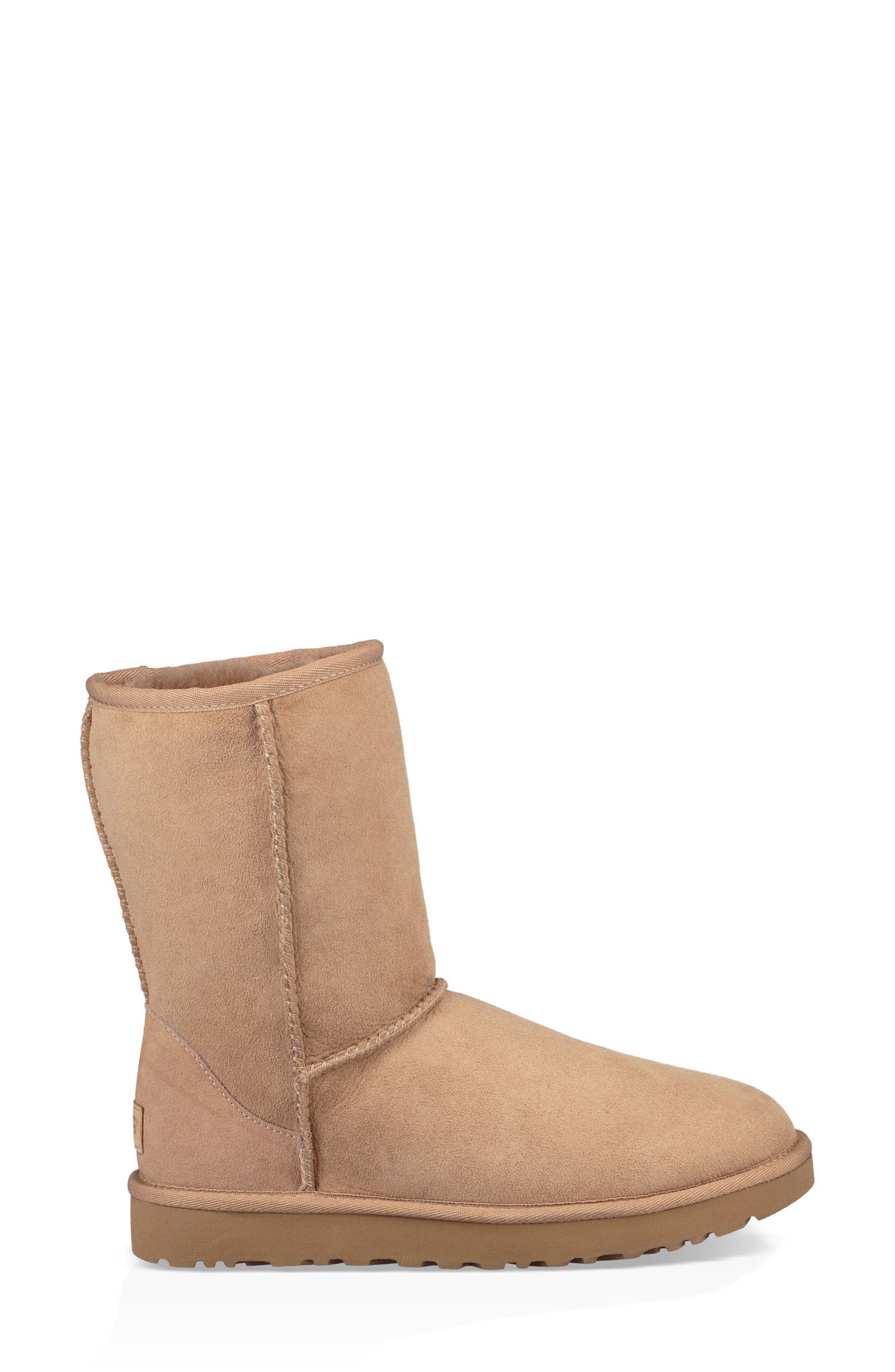'Classic II' Genuine Shearling Lined Short Boot,                             Alternate thumbnail 5, color,                             Fawn Suede