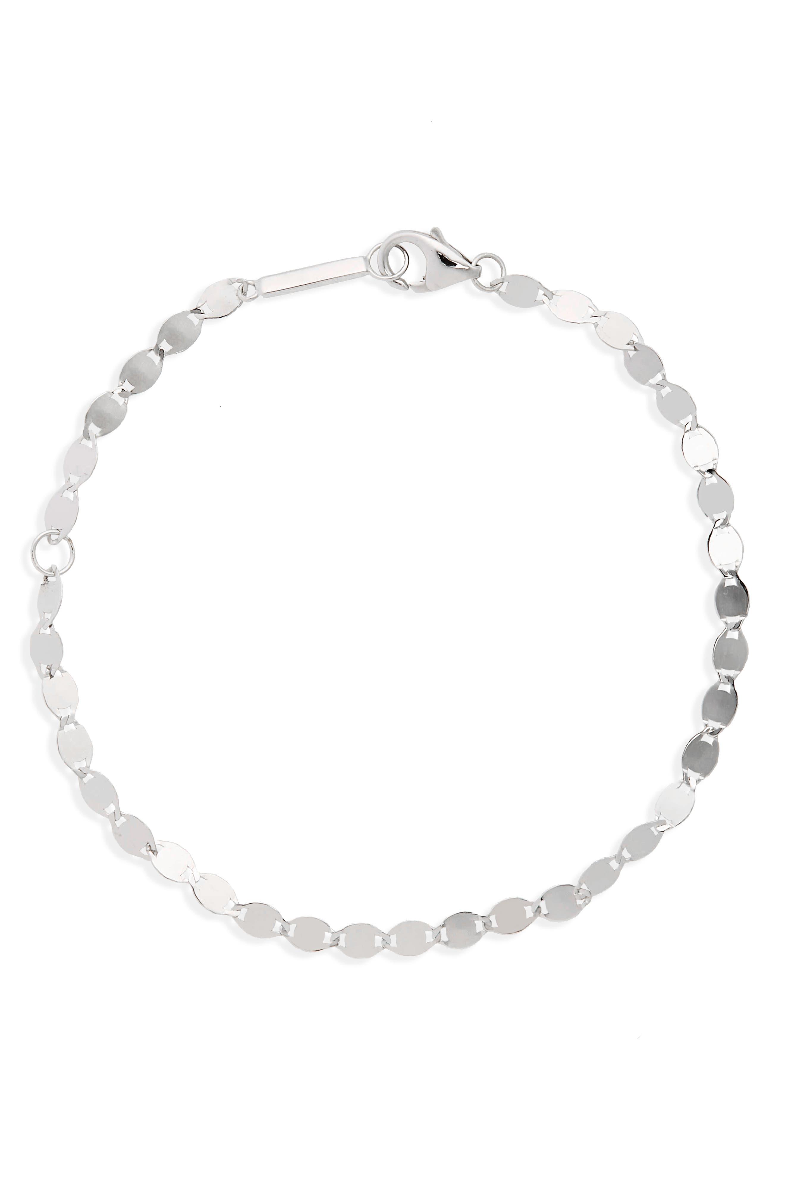 Nude Link Bracelet,                         Main,                         color, White Gold
