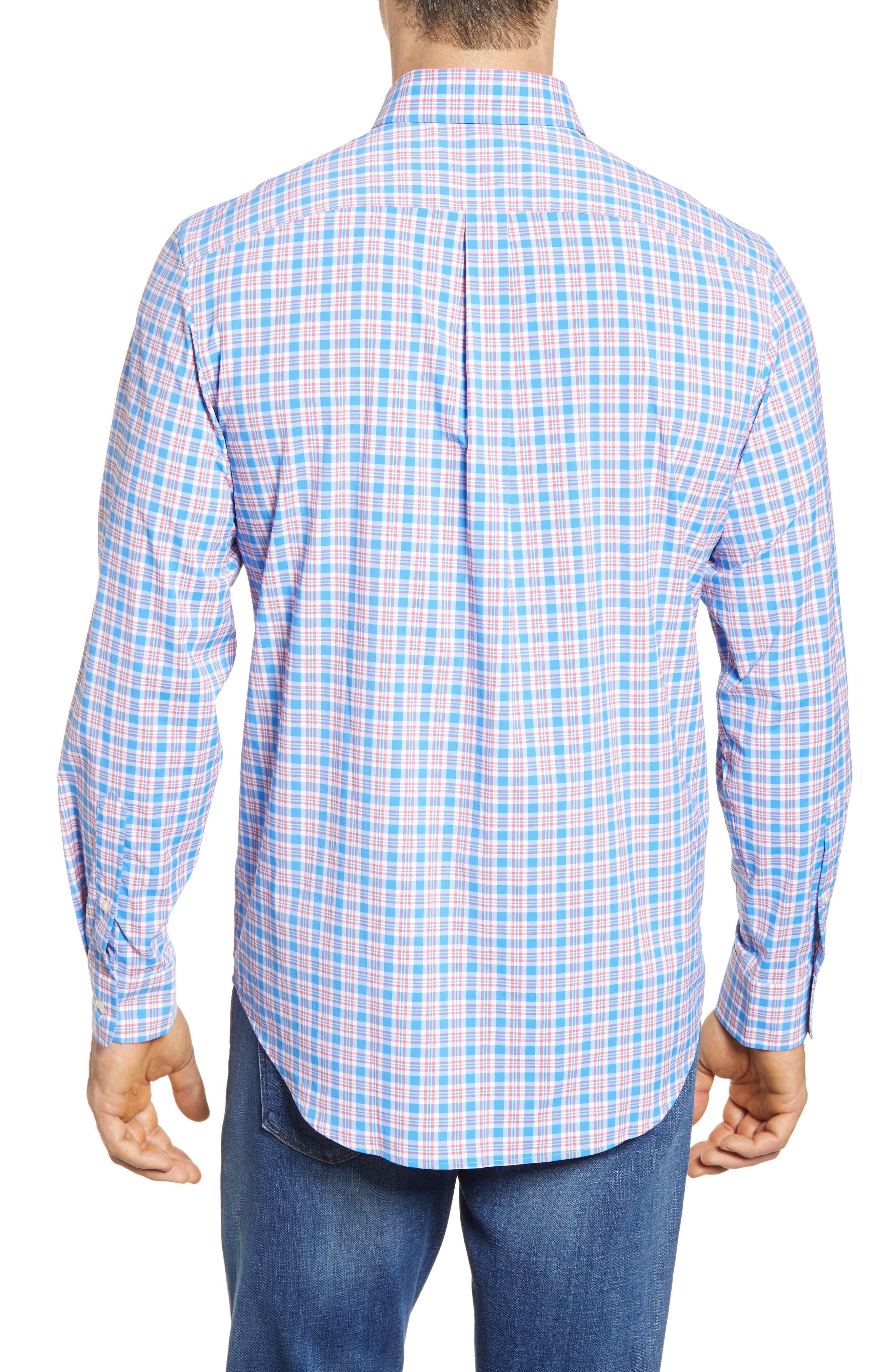 Lighthouse Road Regular Fit Plaid Sport Shirt,                             Alternate thumbnail 3, color,                             Hull Blue