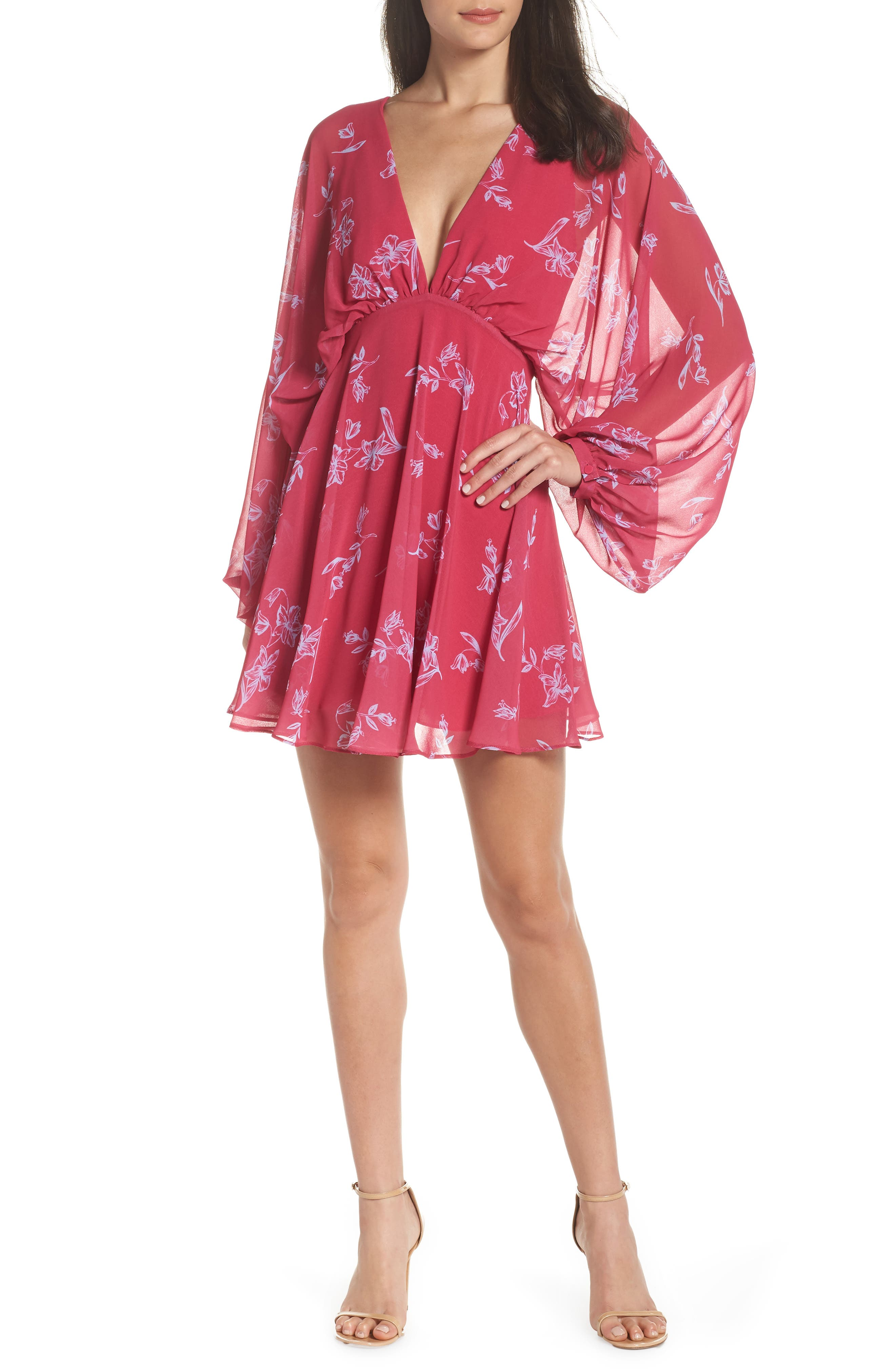 Fame & Partners The Kassidy Georgette Dress,                             Main thumbnail 1, color,                             Pop Sketch Floral