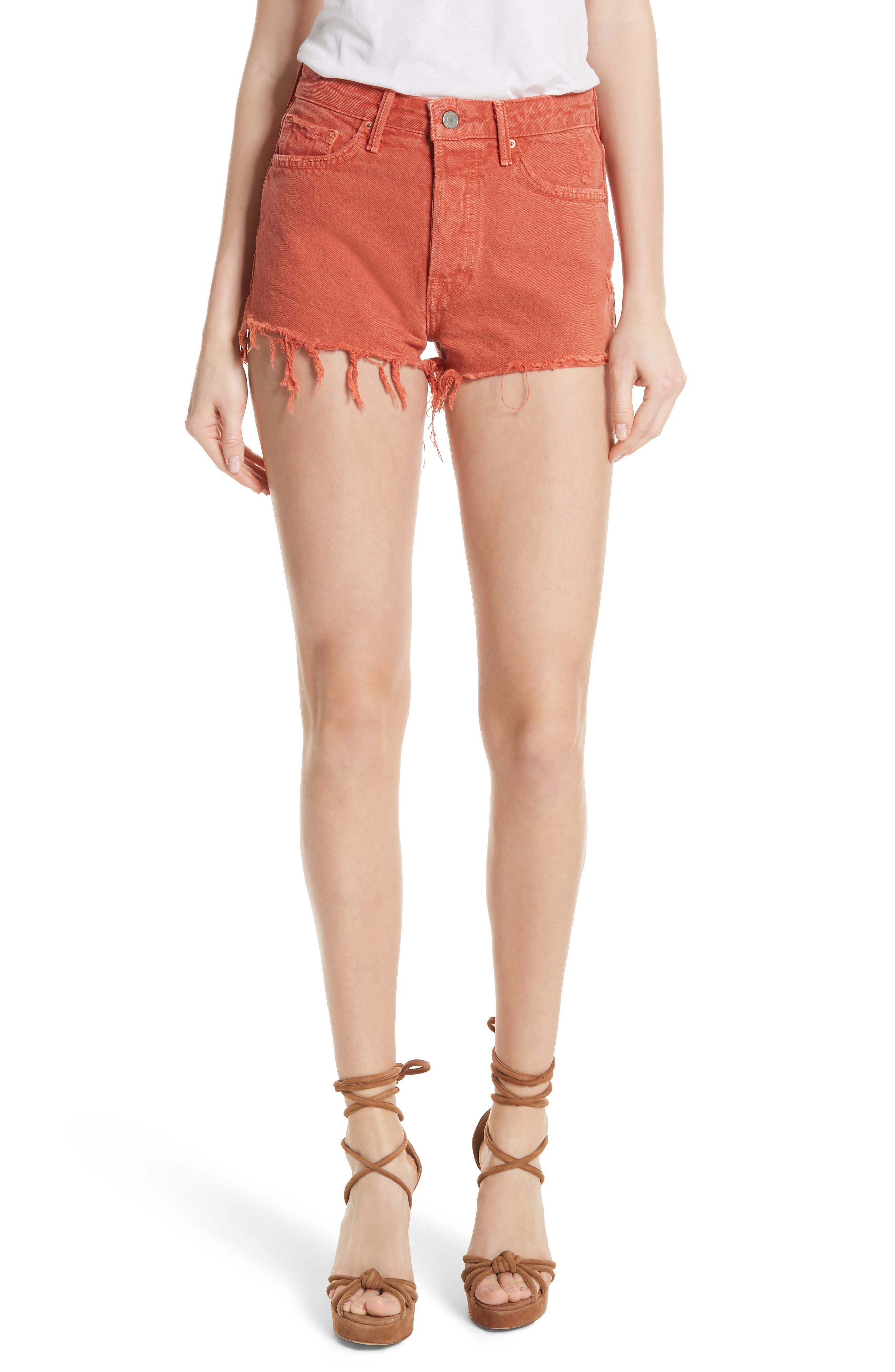 Cindy Rigid High Waist Denim Shorts,                             Main thumbnail 1, color,                             Spice Market