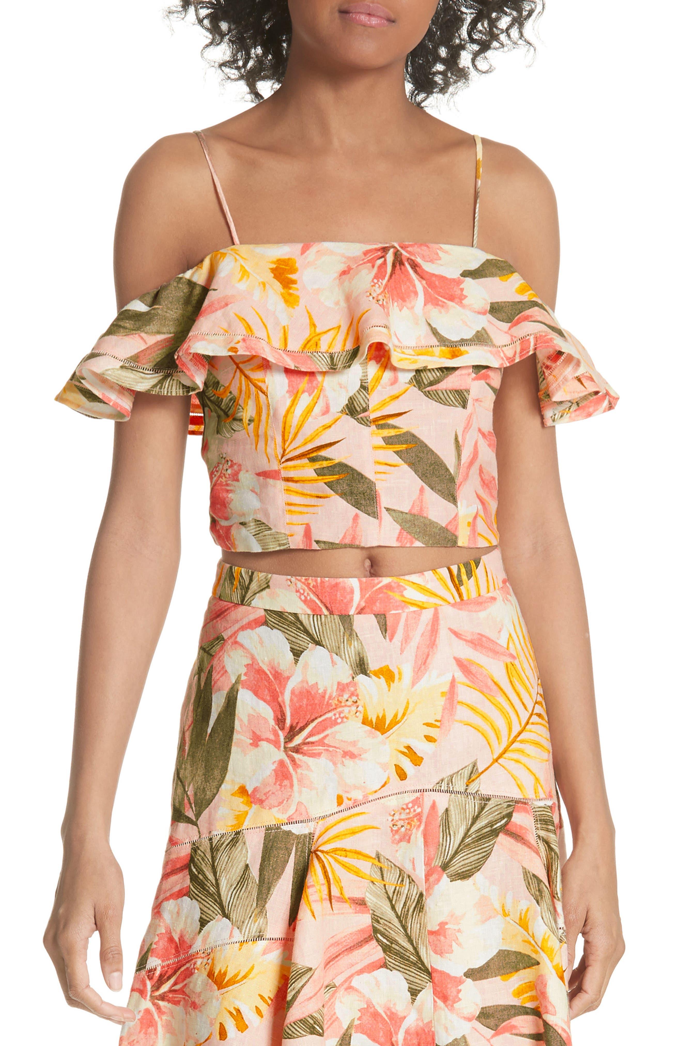 Jazbeth Floral Linen Top,                         Main,                         color, Dusty Nude