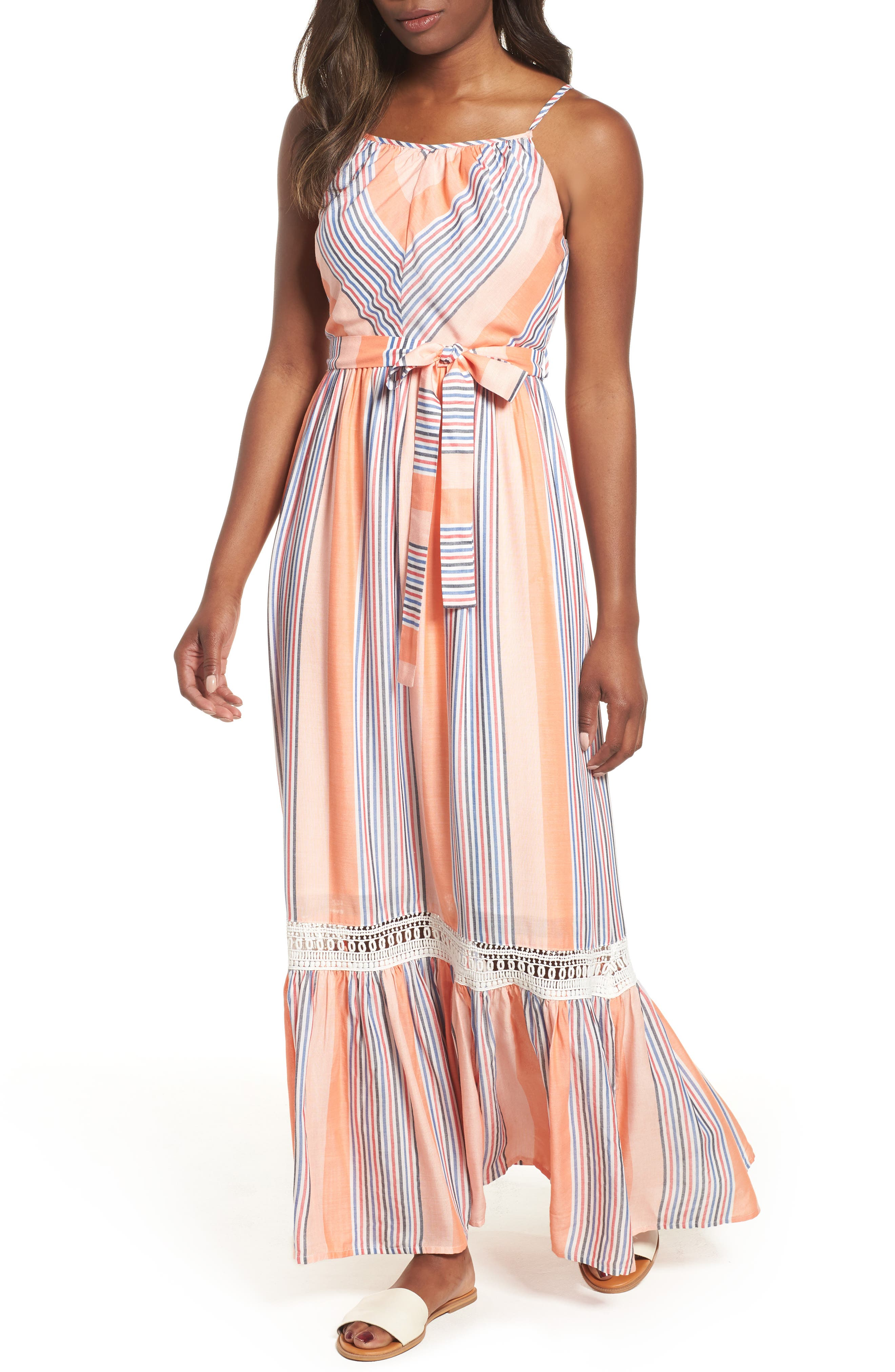 Tie Waist Cotton Maxi Dress,                             Main thumbnail 1, color,                             Orange Stripe