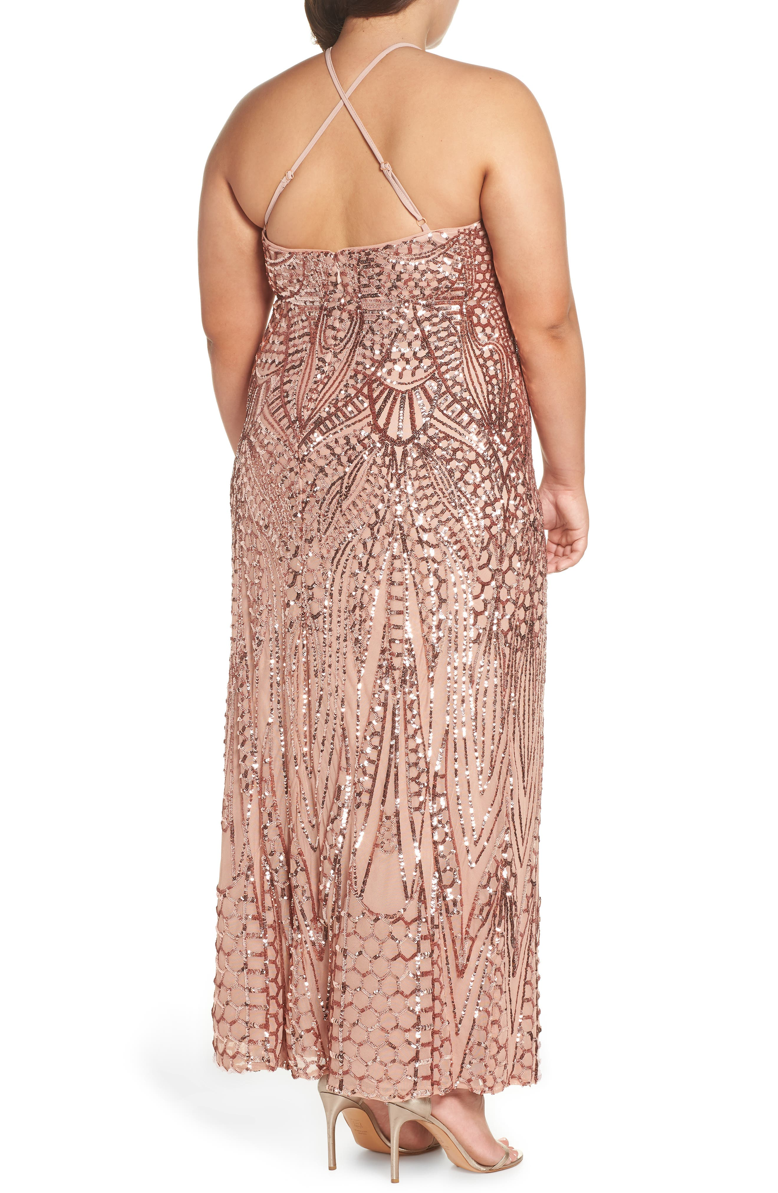 X-Back Sequin Mesh Gown,                             Alternate thumbnail 2, color,                             Rosegold