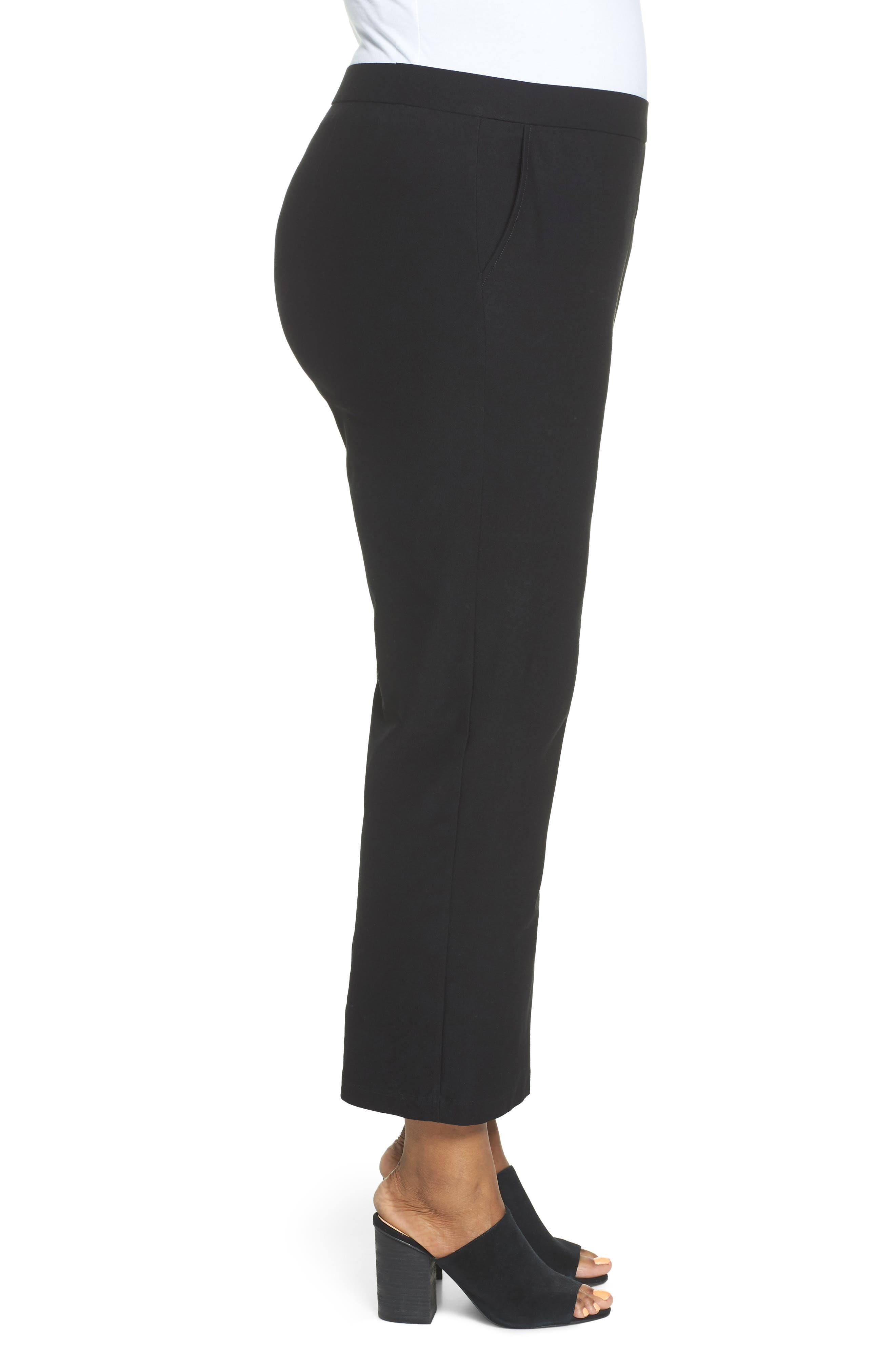Straight Leg Knit Pants,                             Alternate thumbnail 4, color,                             Black