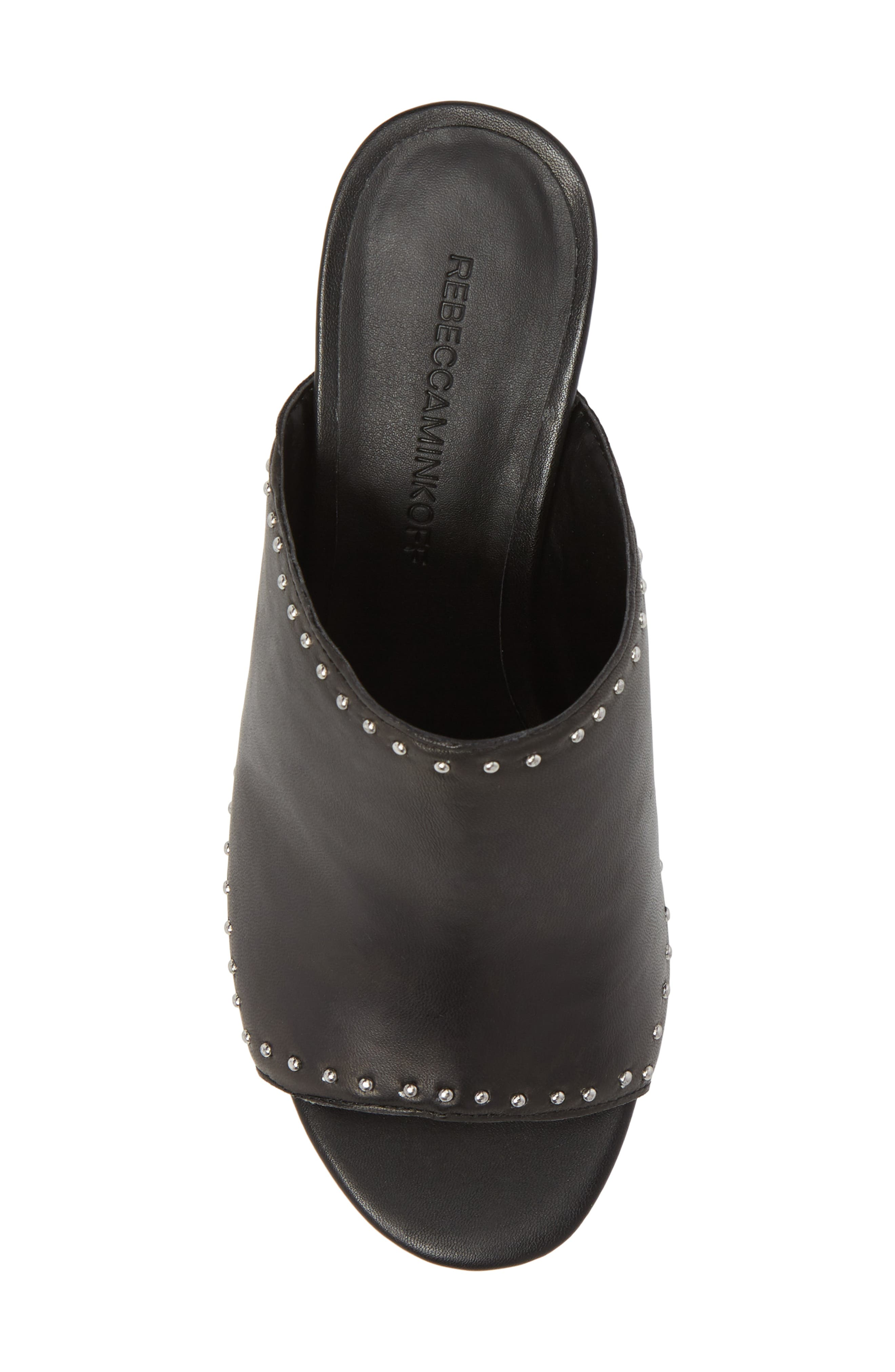 Lainy Studded Mule,                             Alternate thumbnail 5, color,                             Black Leather