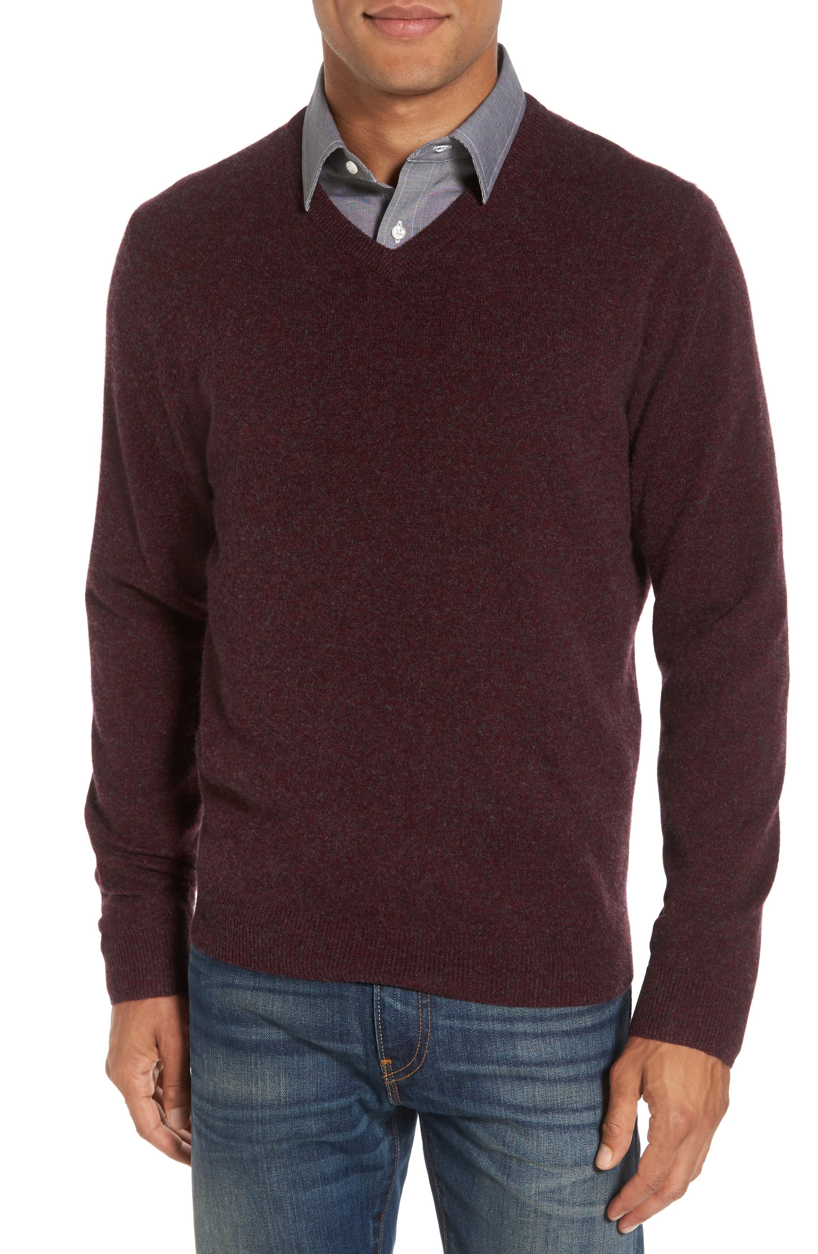 Cashmere V-Neck Sweater,                             Main thumbnail 1, color,                             Burgundy Fudge