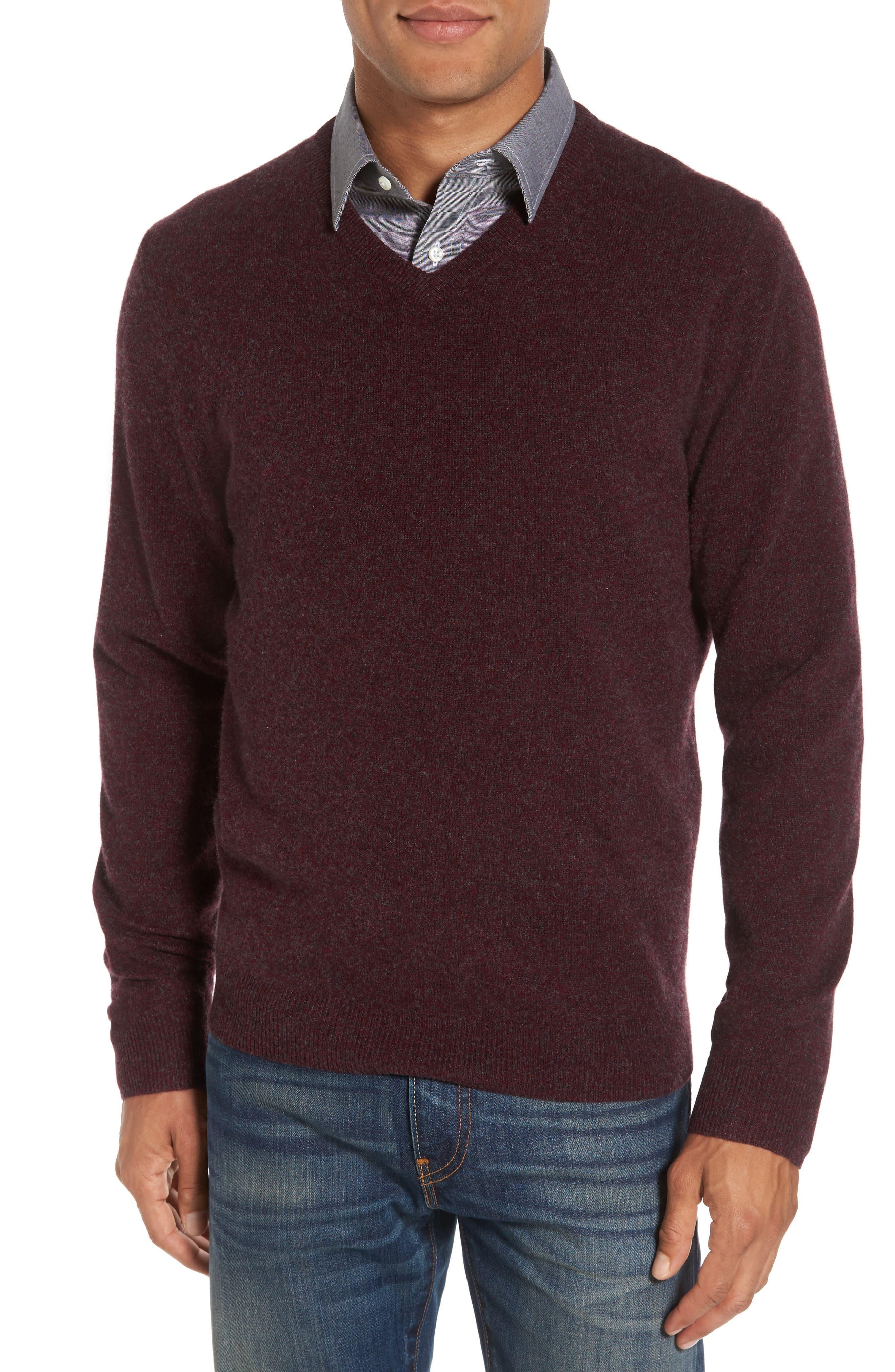 Cashmere V-Neck Sweater,                         Main,                         color, Burgundy Fudge