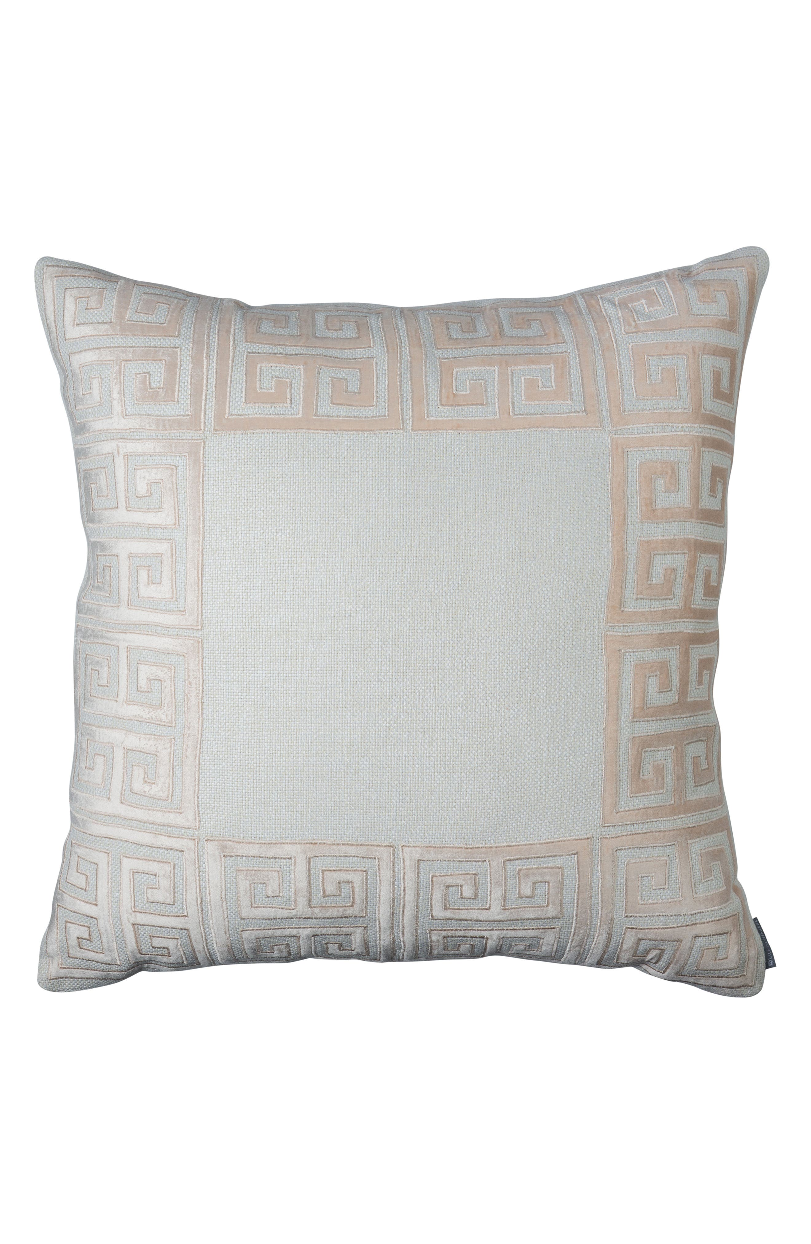 Guy Greek Key Accent Pillow,                         Main,                         color, Pink