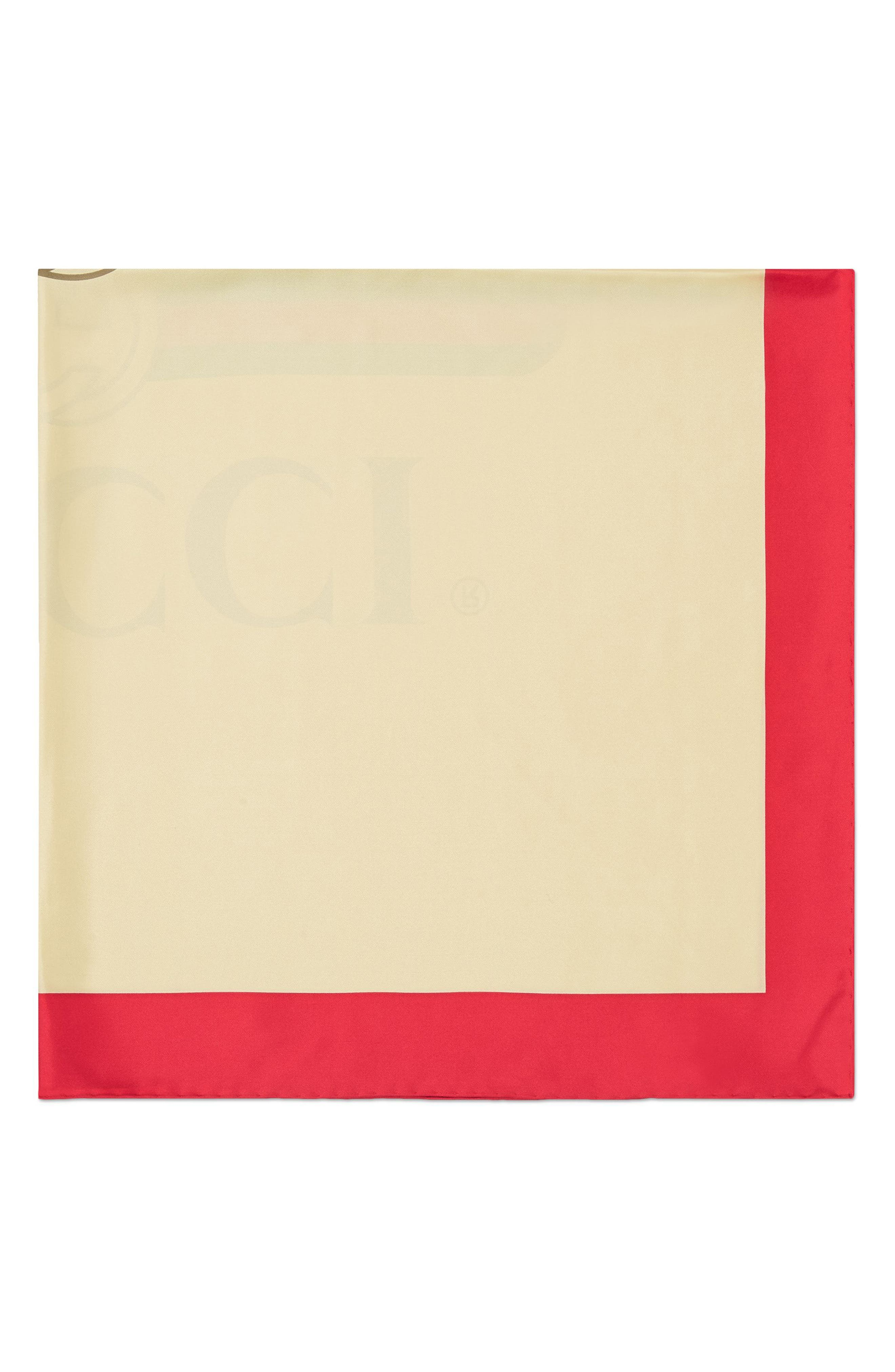 Future Logo Silk Twill Scarf,                             Alternate thumbnail 3, color,                             Ivory/ Red