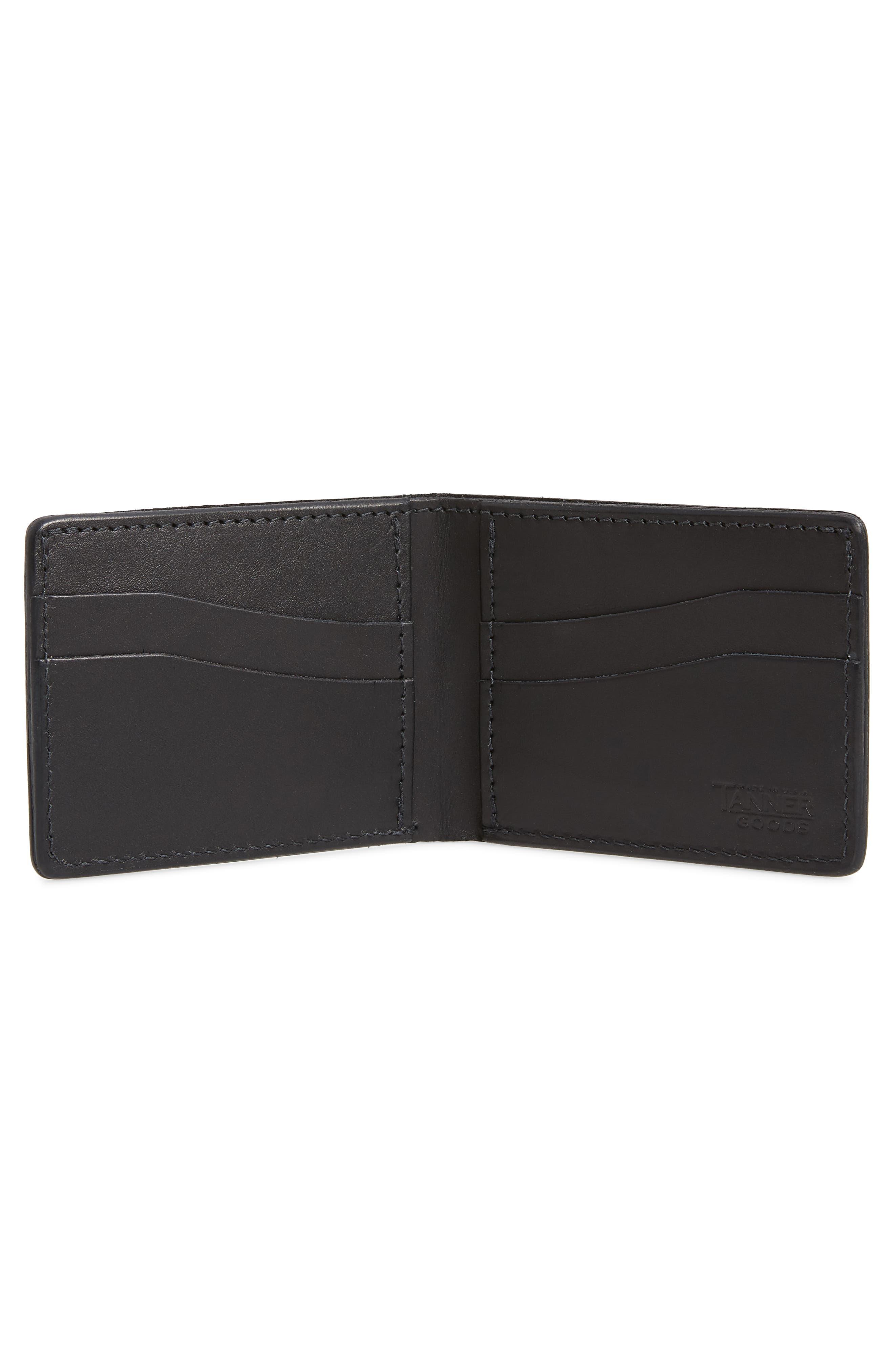 Utility Leather Bifold Wallet,                             Alternate thumbnail 3, color,                             Black