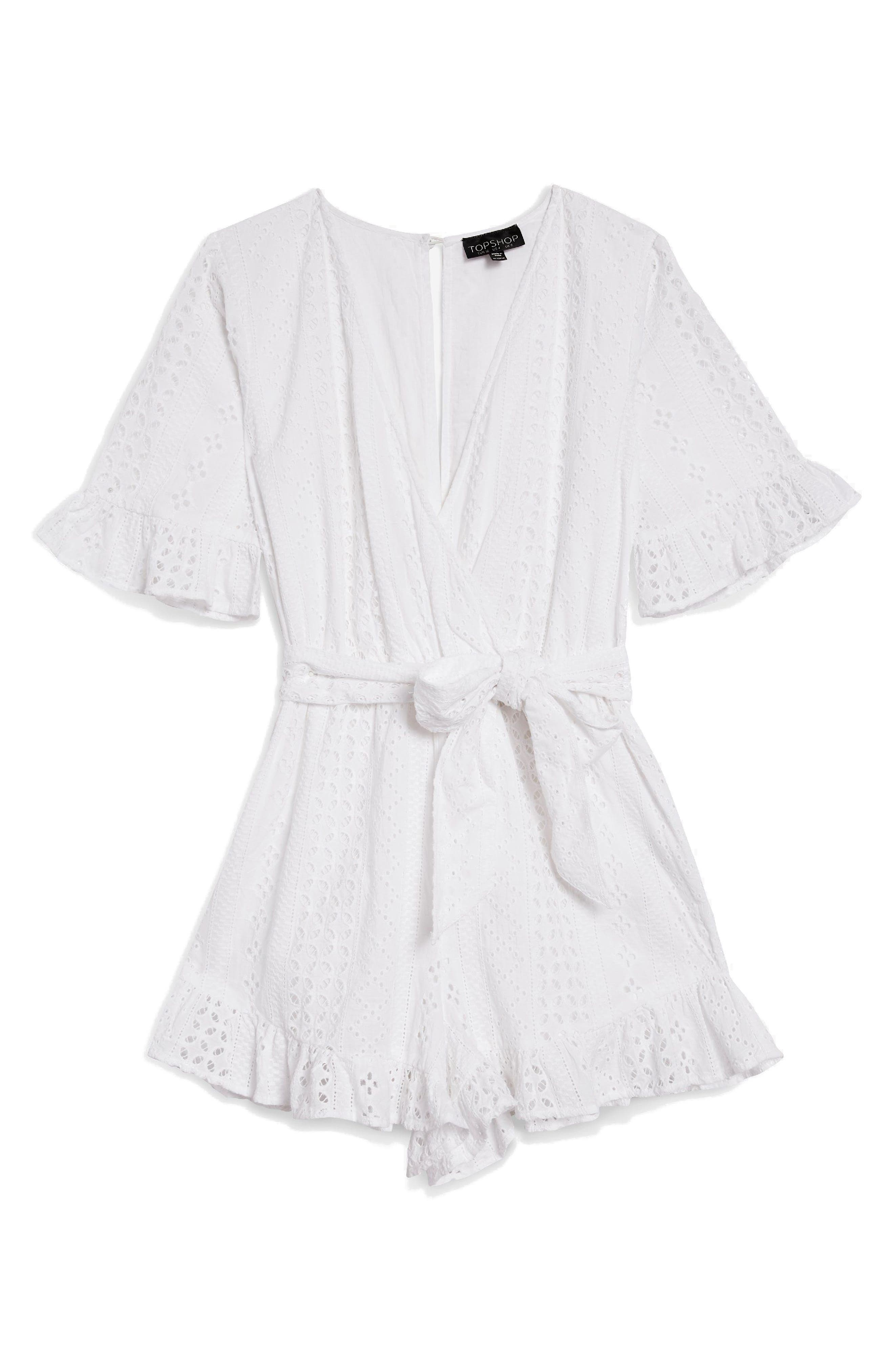 Broderie Anglaise Wrap Front Romper,                             Alternate thumbnail 4, color,                             White
