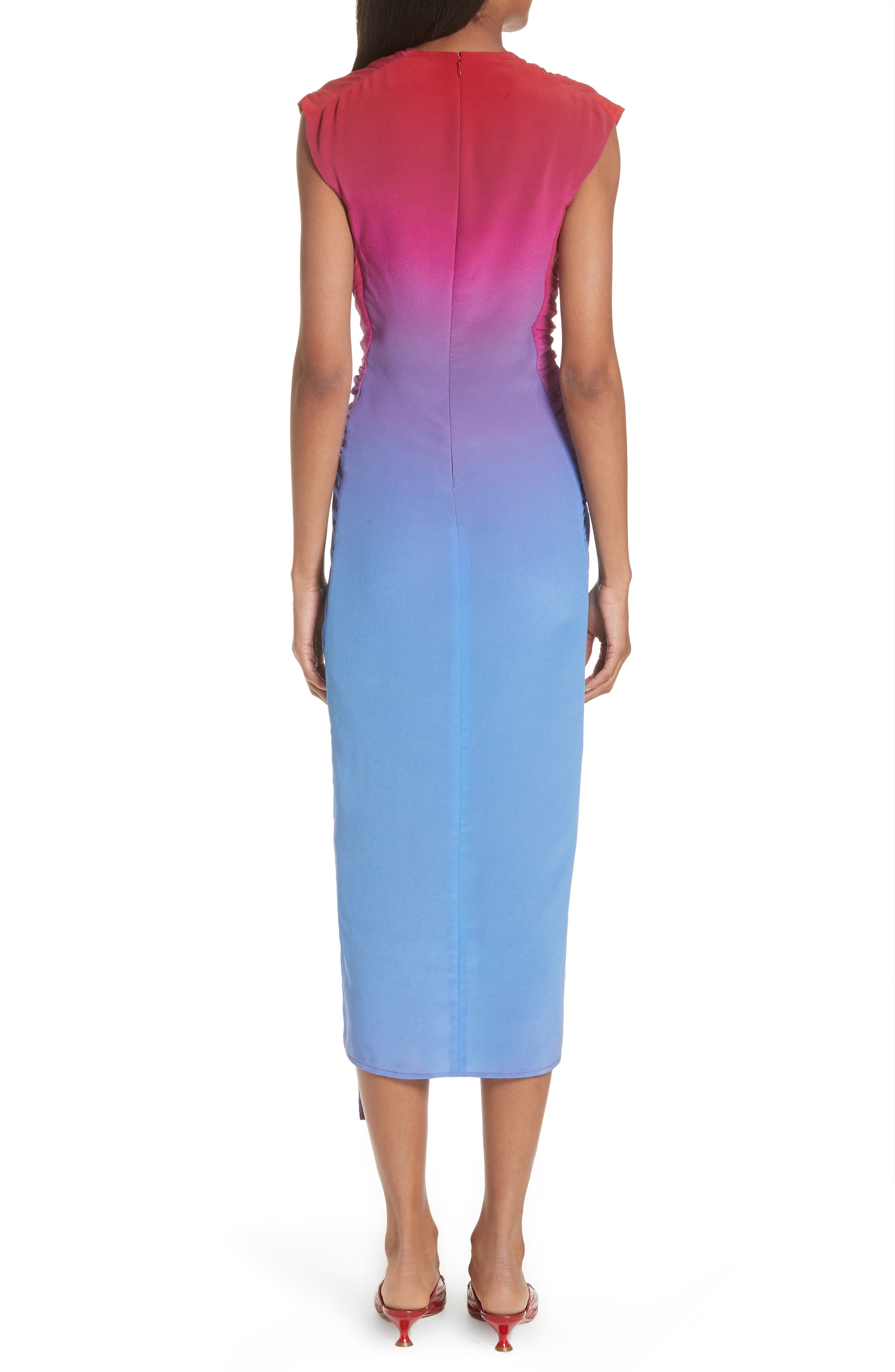 Twist Front Dégradé Silk Dress,                             Alternate thumbnail 3, color,                             Dusty Blue/ Lipstick