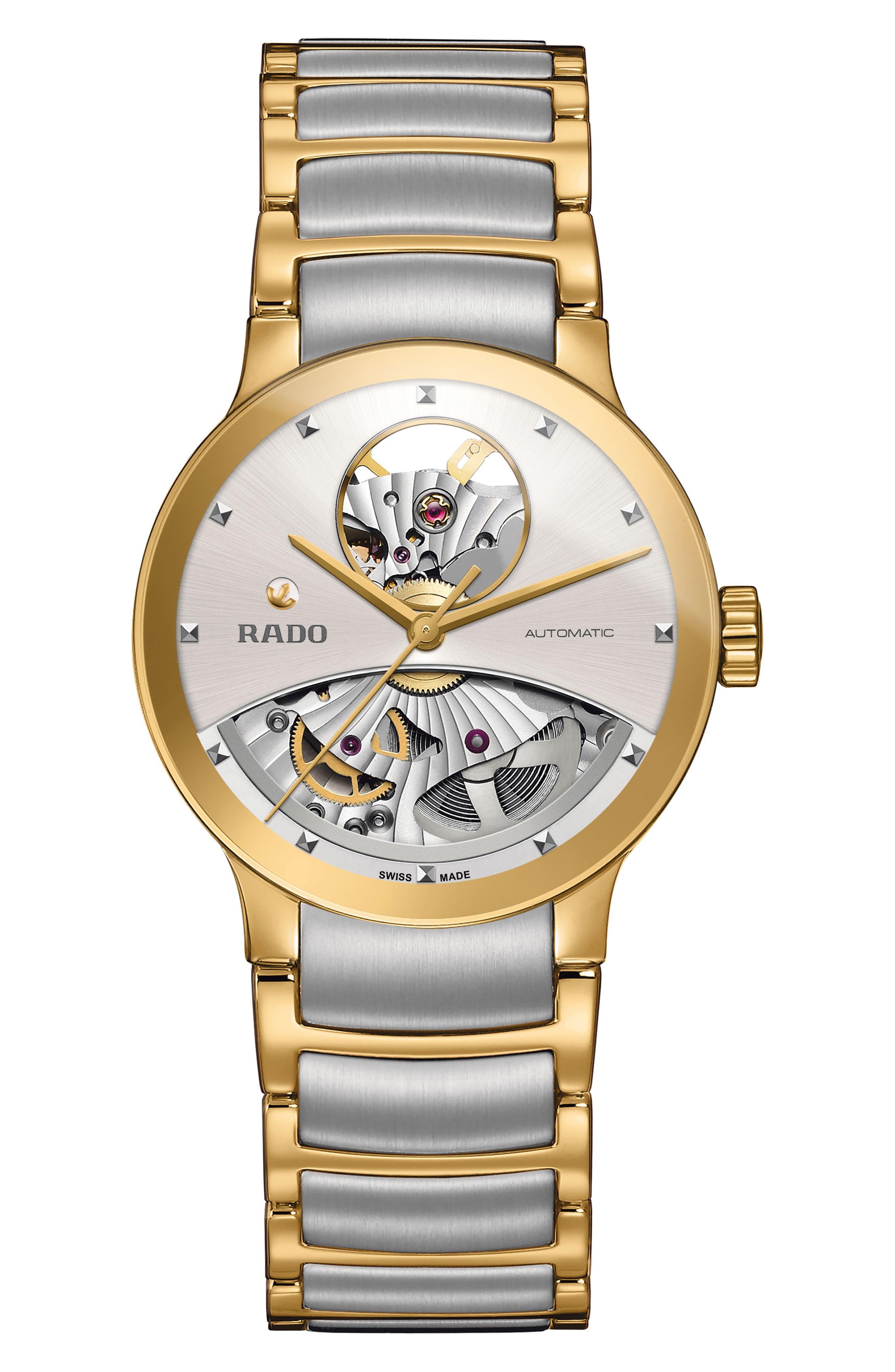 Centrix Automatic Open Heart Bracelet Watch, 33mm,                             Main thumbnail 1, color,                             Silver/ Rose Gold