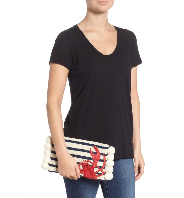 Striped Lobster Woven Zip Pouch