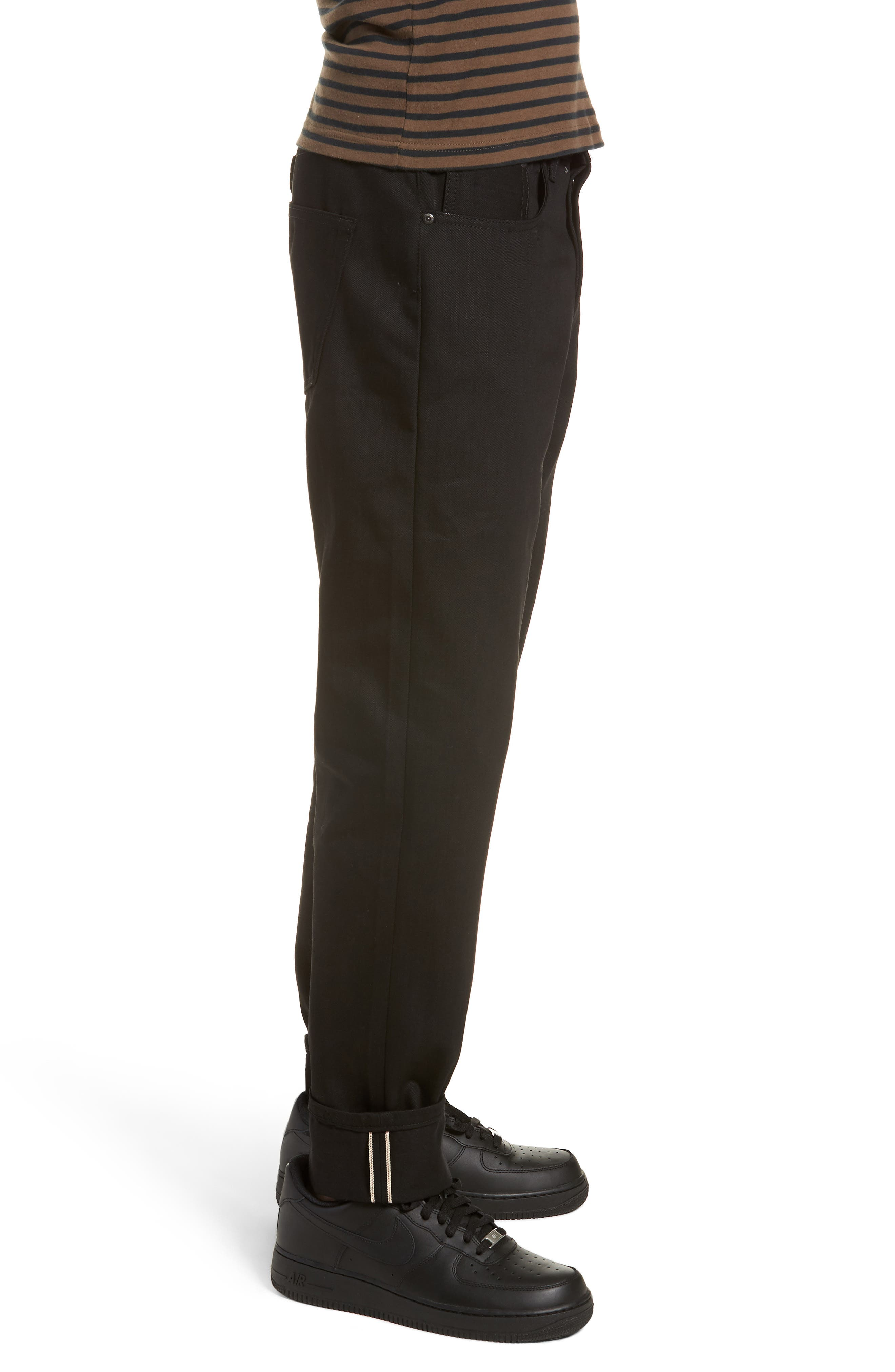Naked & Famous Easy Guy Relaxed Fit Jeans,                             Alternate thumbnail 3, color,                             Solid Black Selvedge