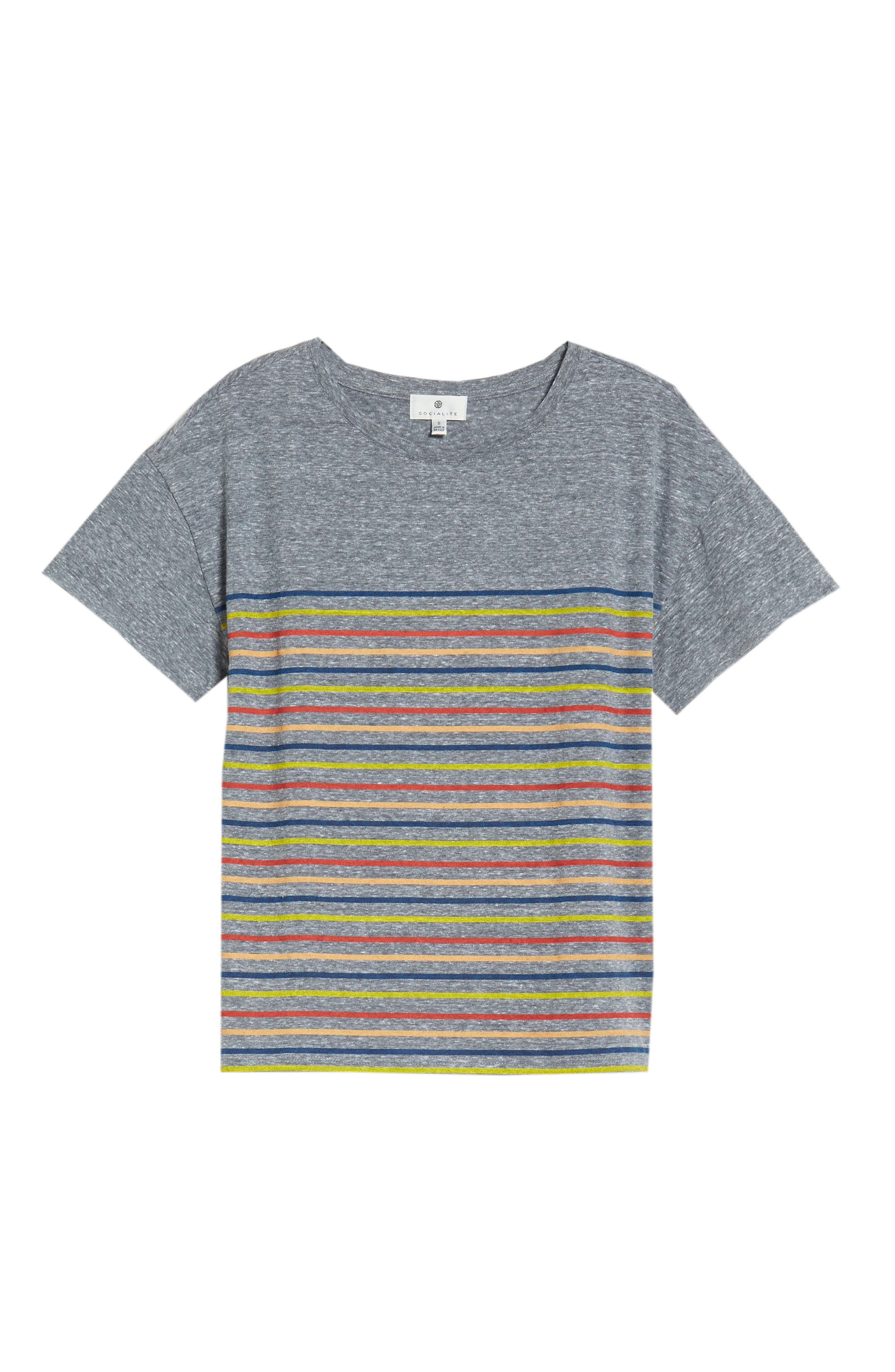 Placed Stripe Tee,                             Alternate thumbnail 7, color,                             Grey