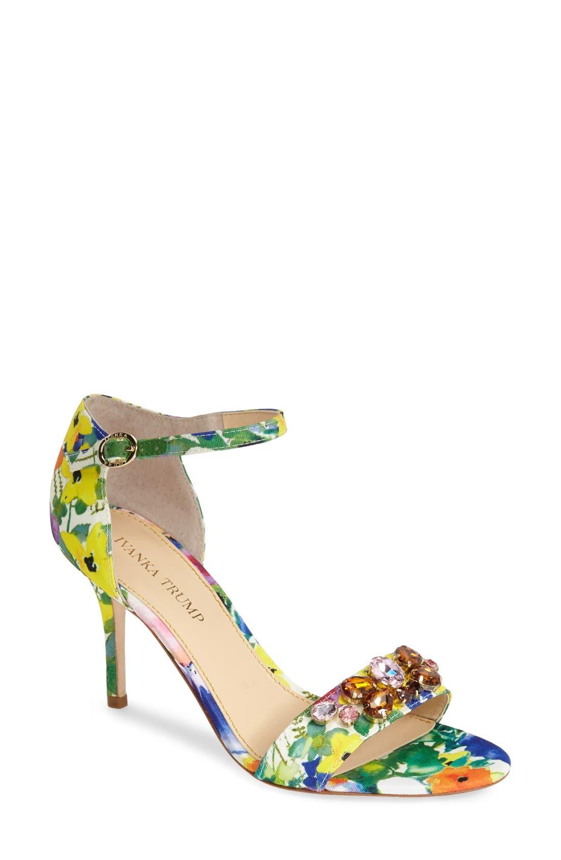 Main Image - Ivanka Trump 'Gessa' Crystal Embellished Print Sandal (Women)