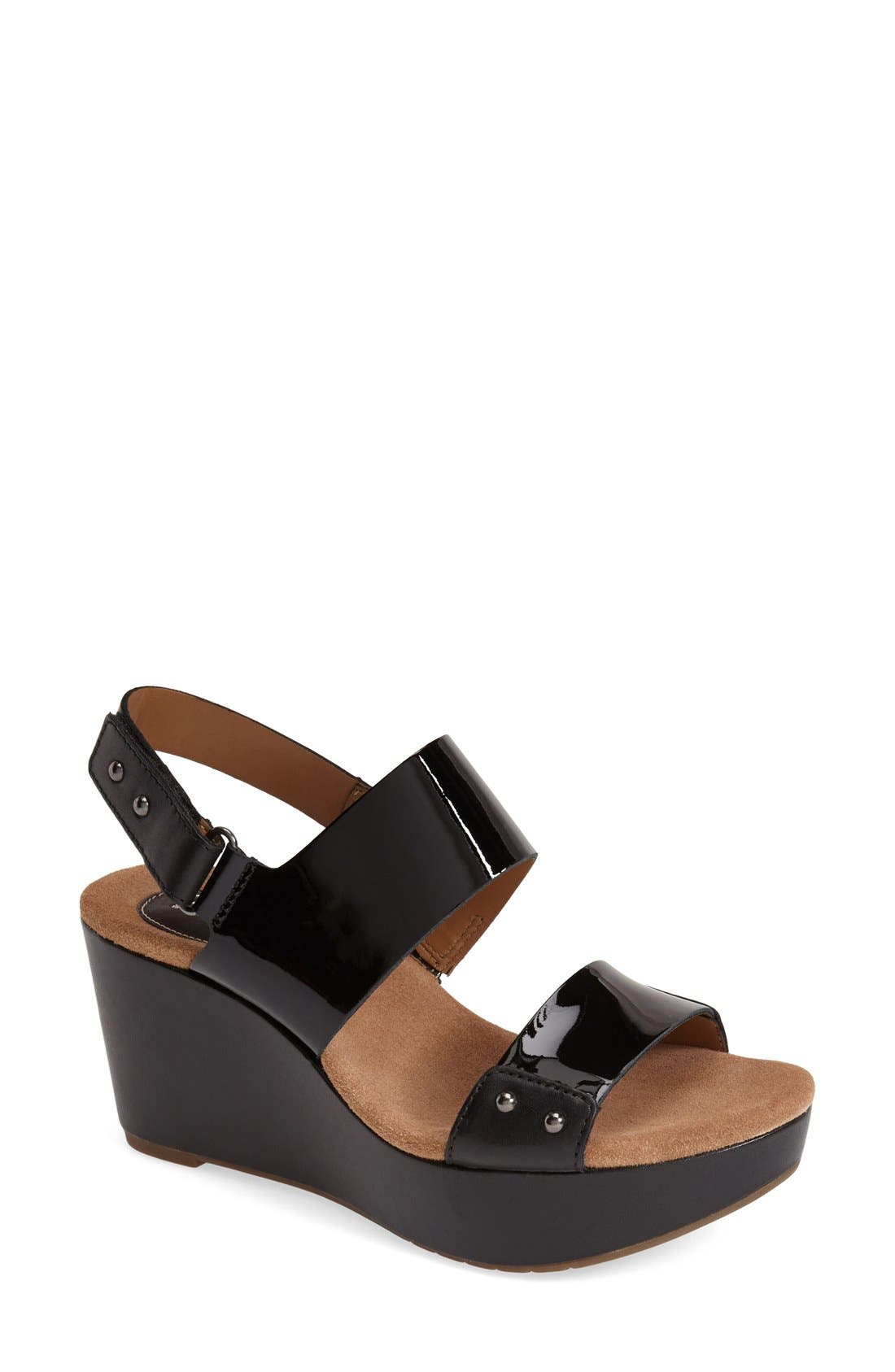 Main Image - Clarks® 'Caslynn Dez' Patent Leather Platform Sandal ...