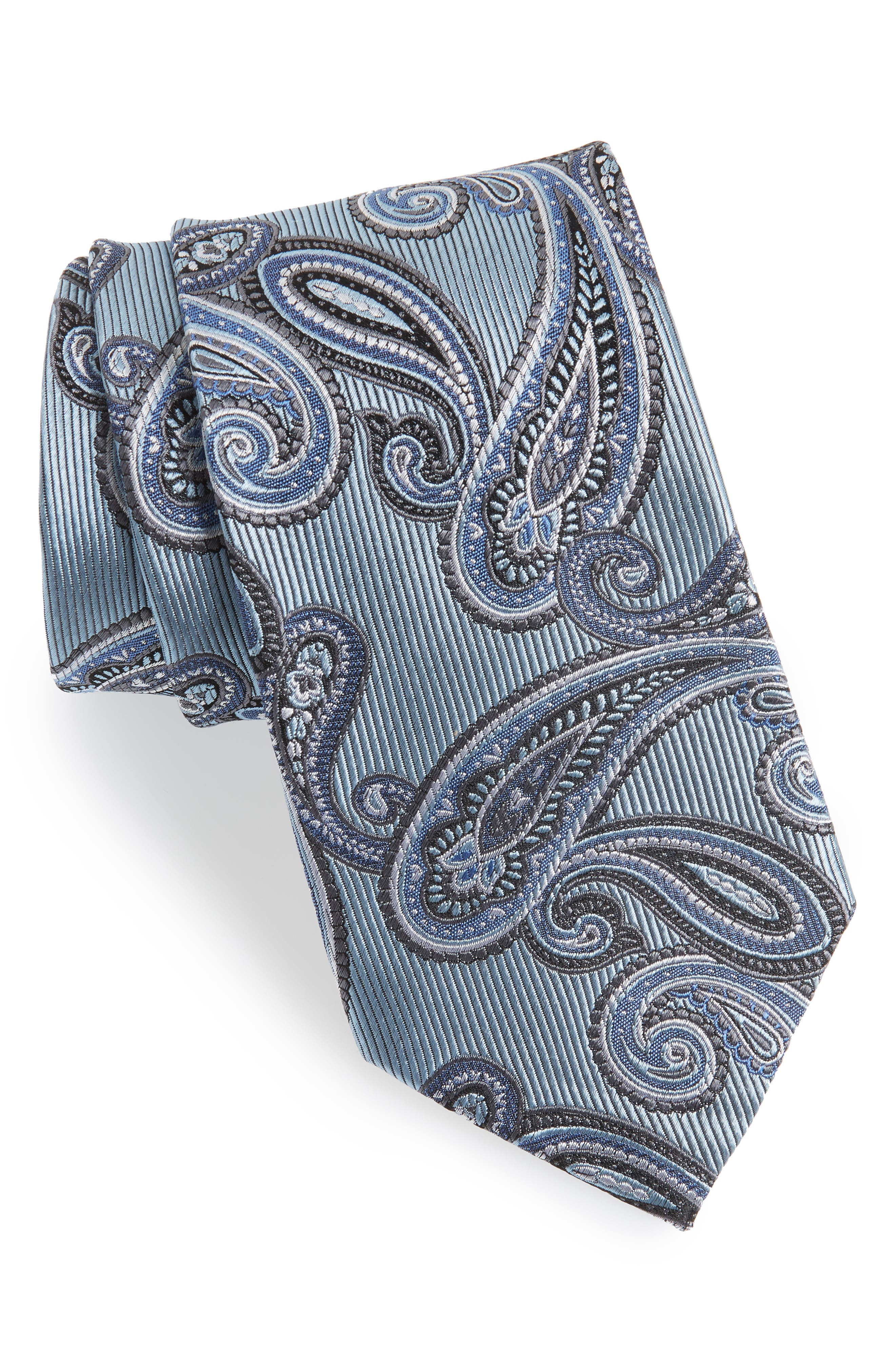 Paisley Silk Tie,                             Main thumbnail 1, color,                             Light Blue