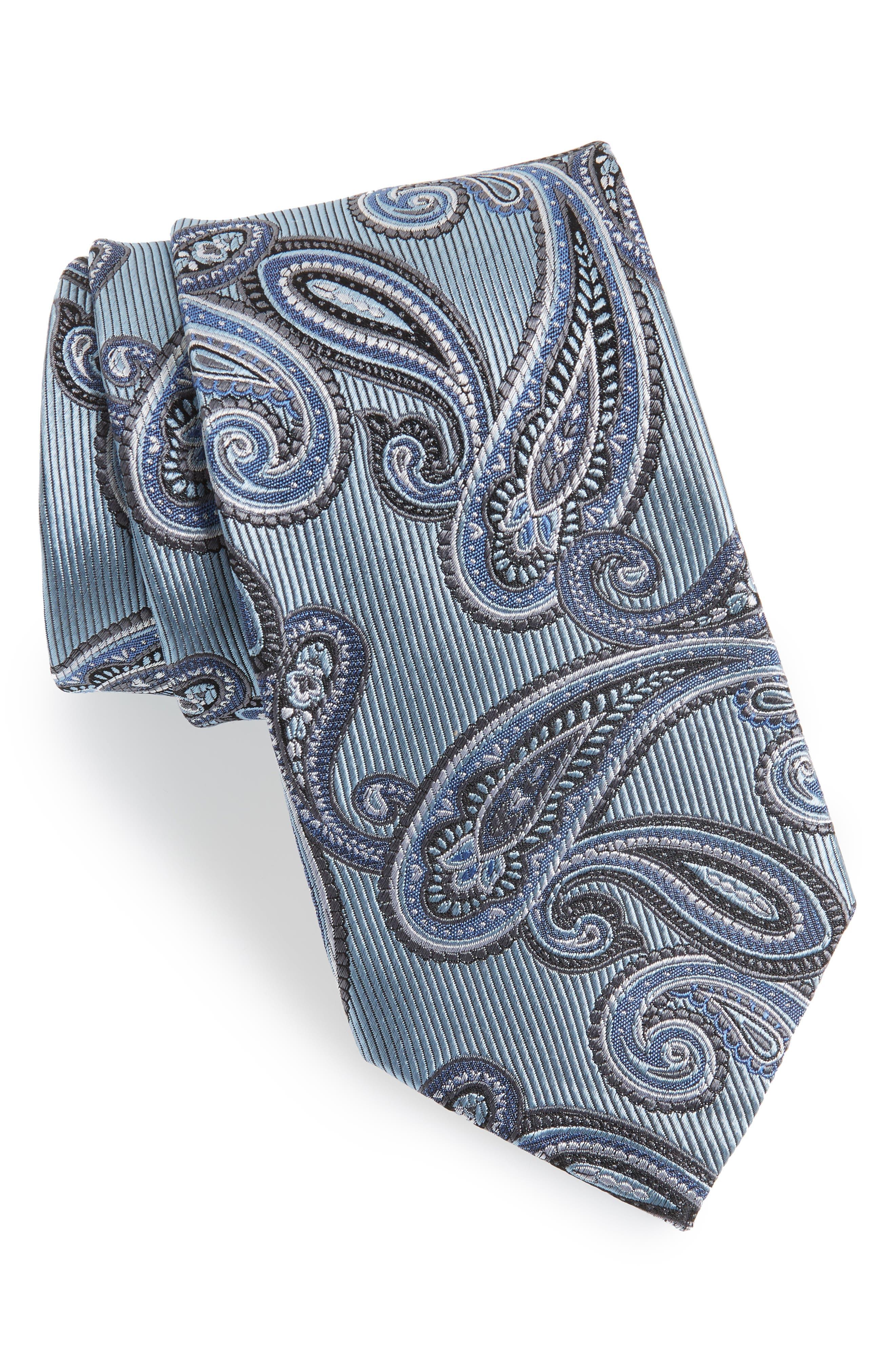 Paisley Silk Tie,                         Main,                         color, Light Blue