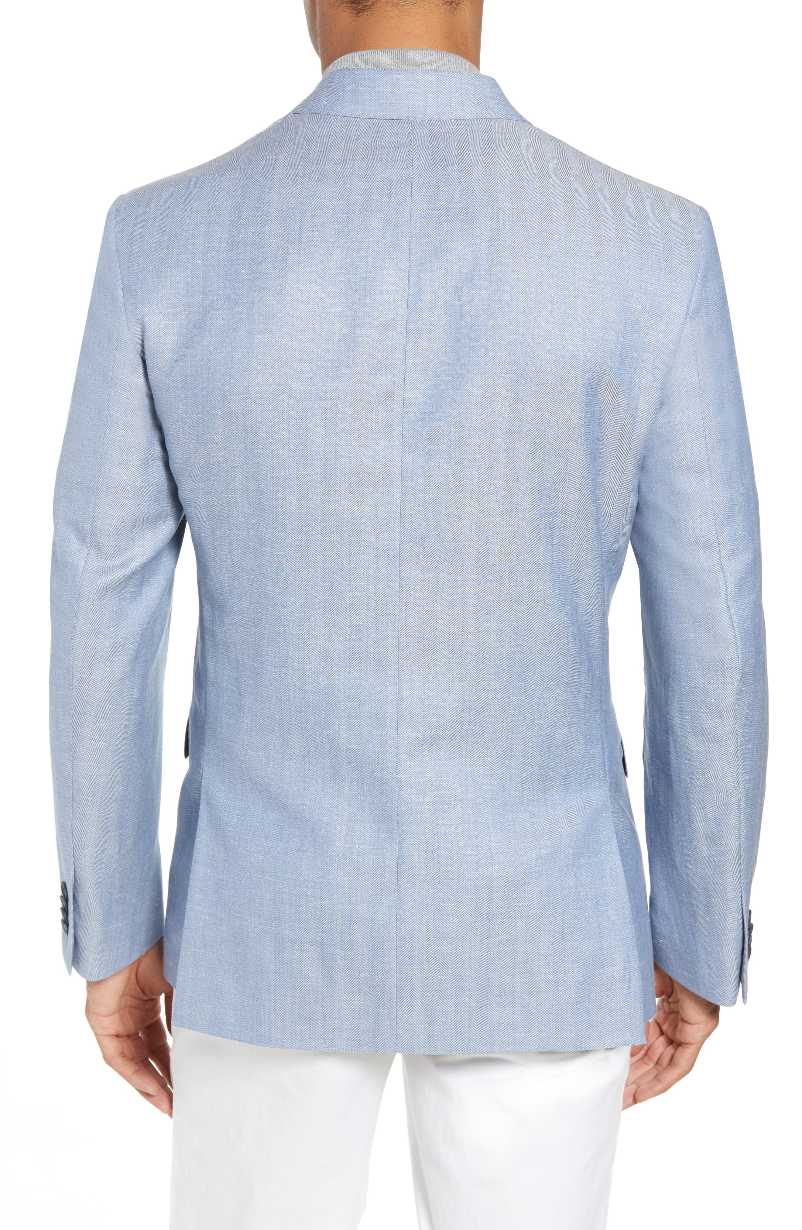 Traditional Fit Herringbone Wool & Linen Sport Coat,                             Alternate thumbnail 2, color,                             Blue
