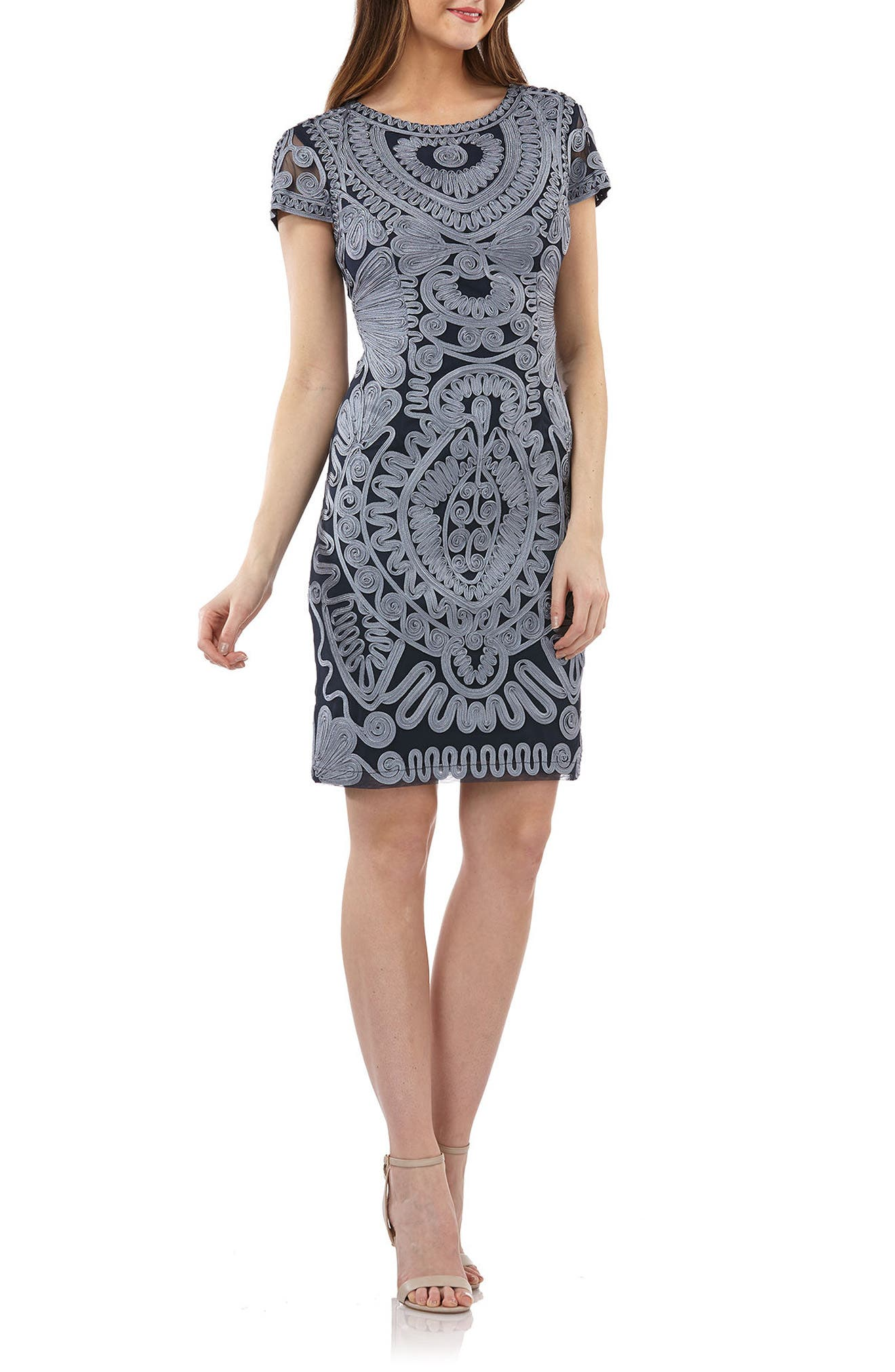 Soutache Dress,                         Main,                         color, Cloud/ Navy