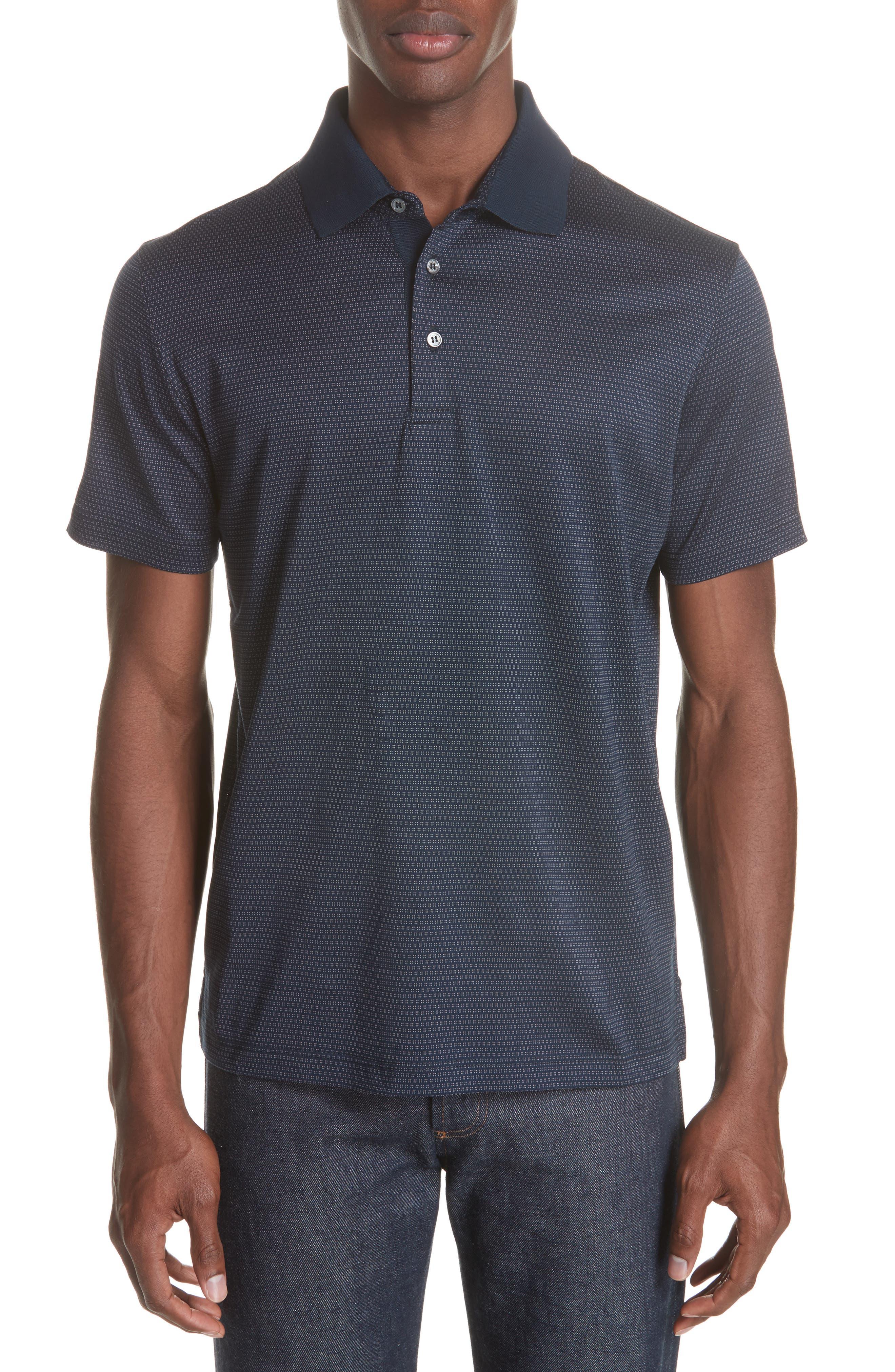 Geometric Cotton Polo Shirt,                             Main thumbnail 1, color,                             Navy
