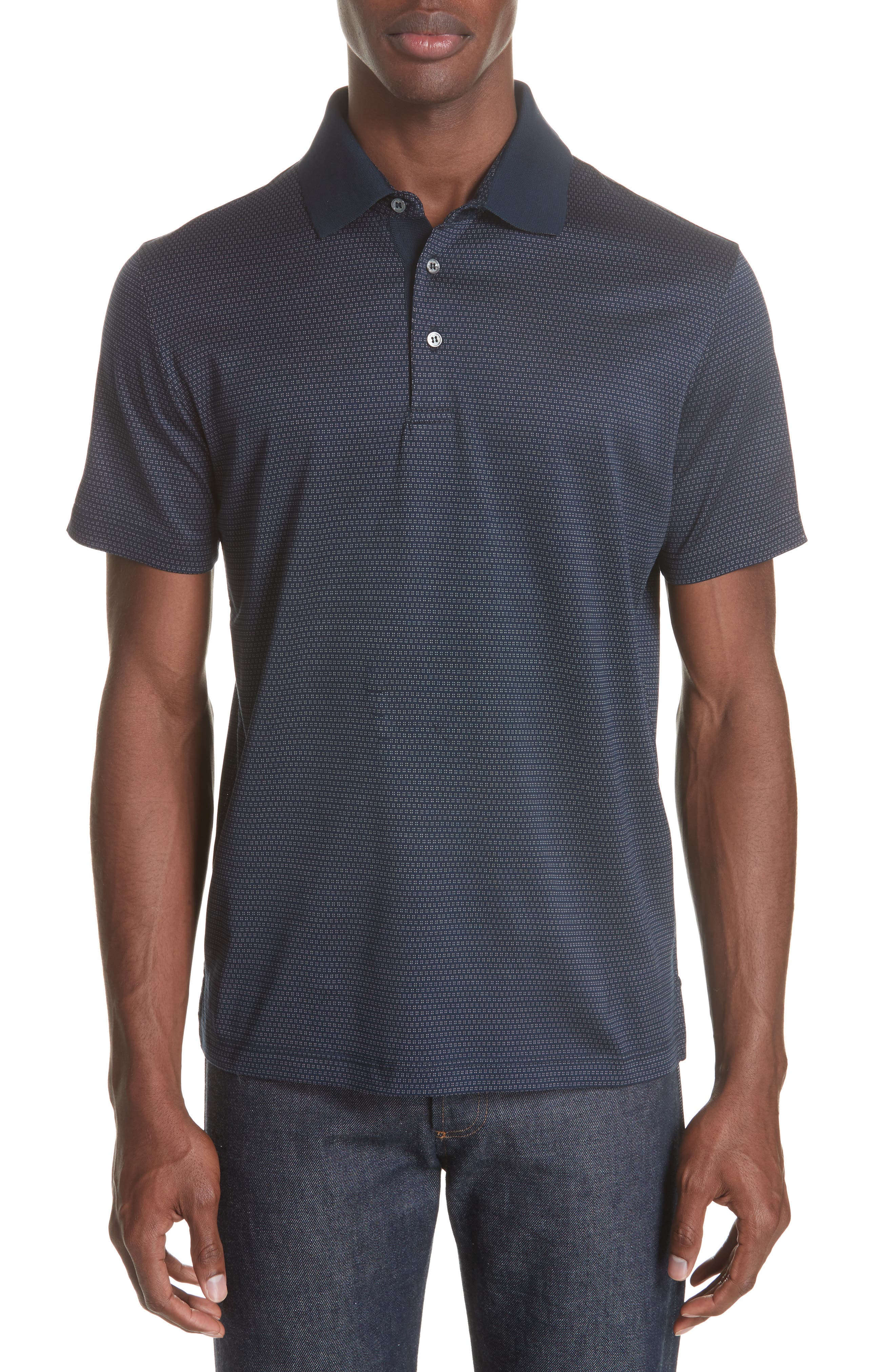 Geometric Cotton Polo Shirt,                         Main,                         color, Navy