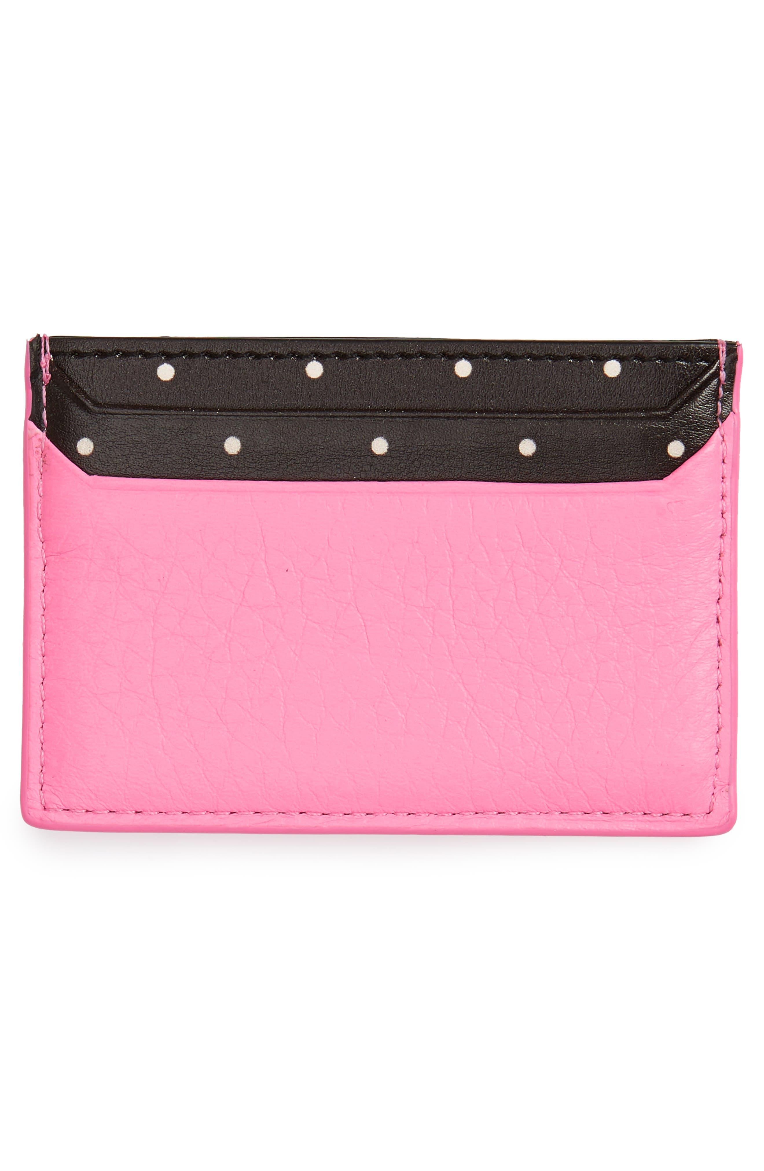 blake street - dot lynleigh leather card case,                             Alternate thumbnail 2, color,                             Marguerite Bloom