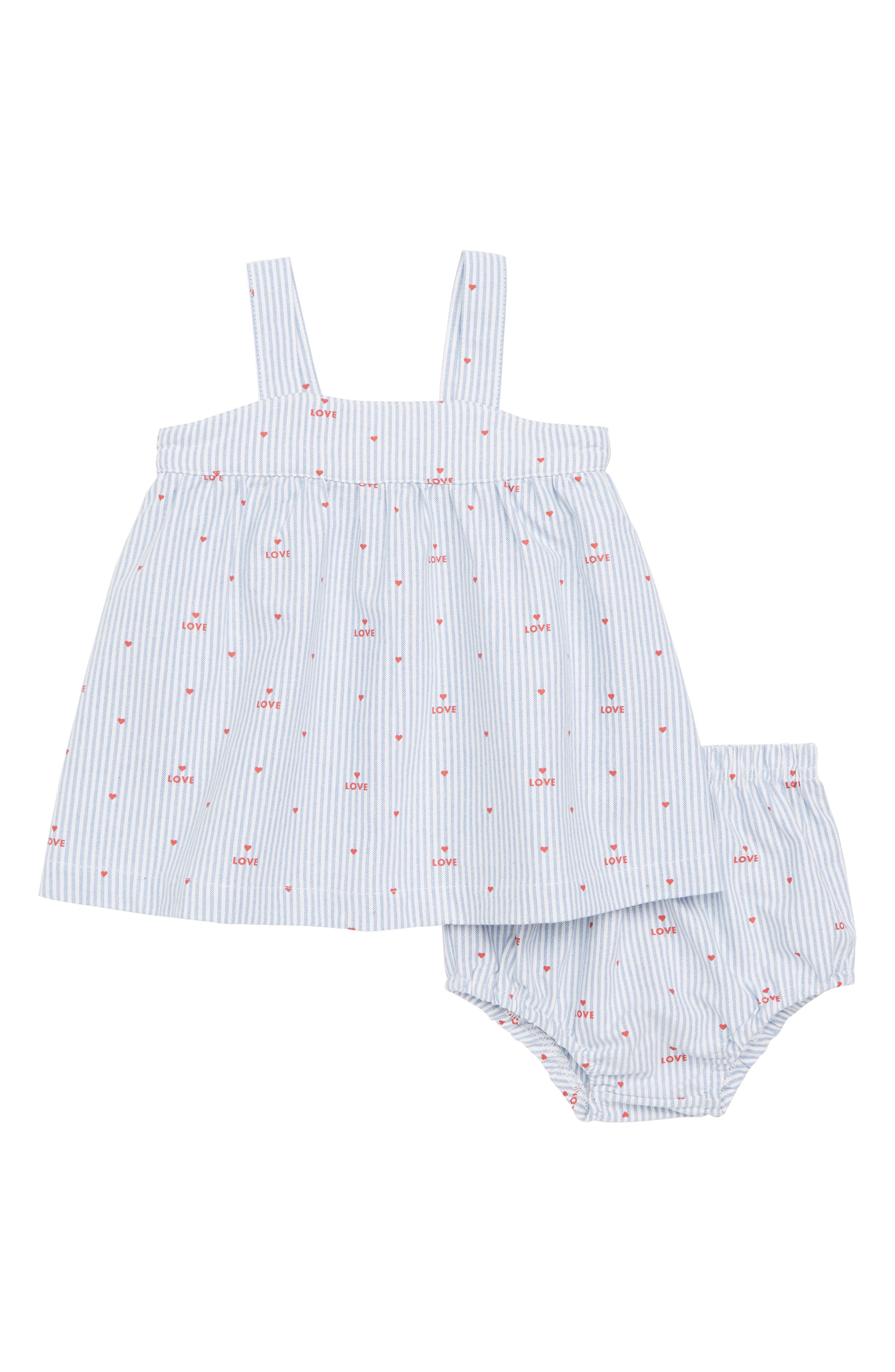 Pinstripe Swing Dress,                             Main thumbnail 1, color,                             White/ Peach