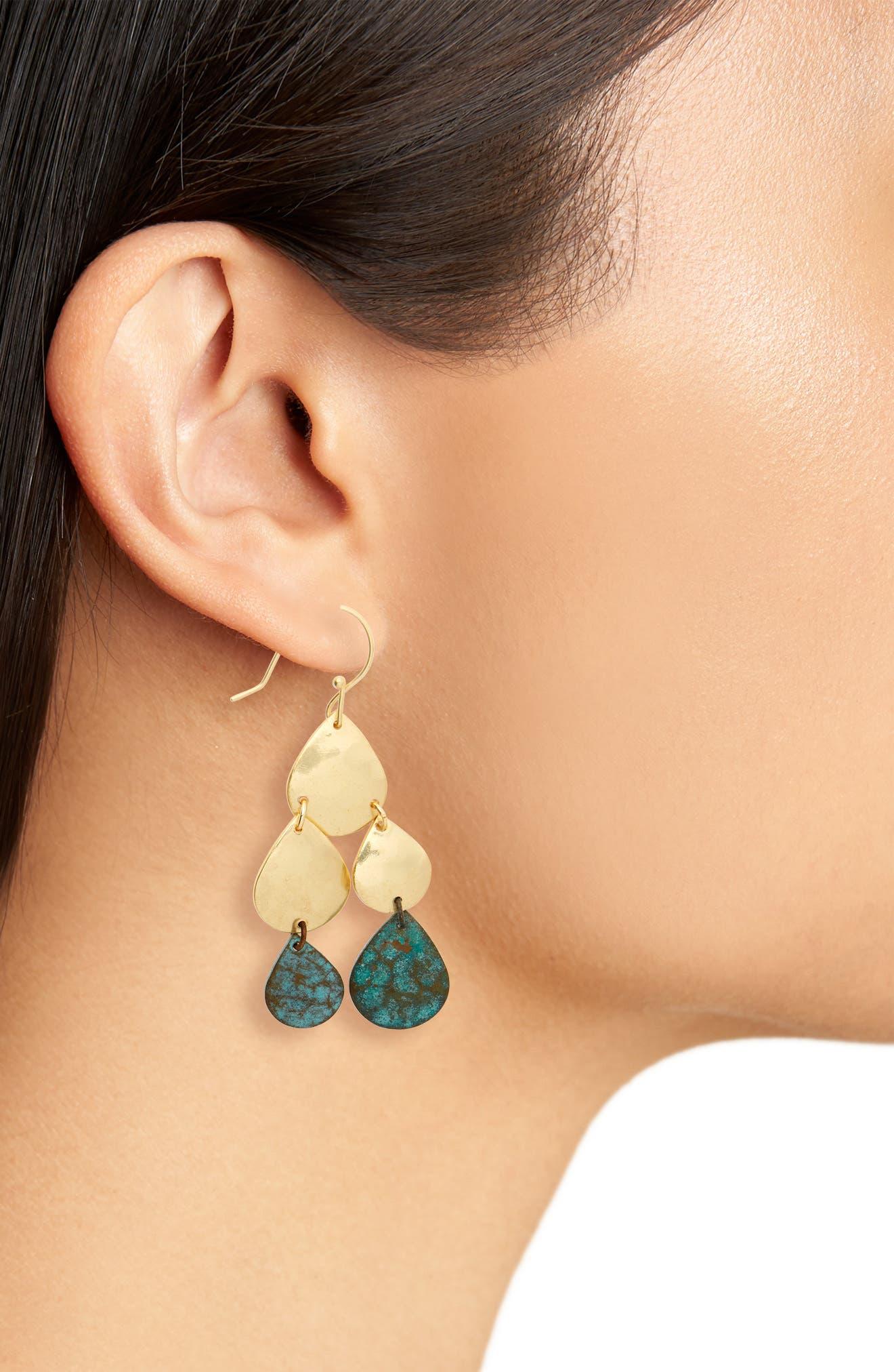 Patina Teardrops Earrings,                             Alternate thumbnail 2, color,                             Gold/ Multi