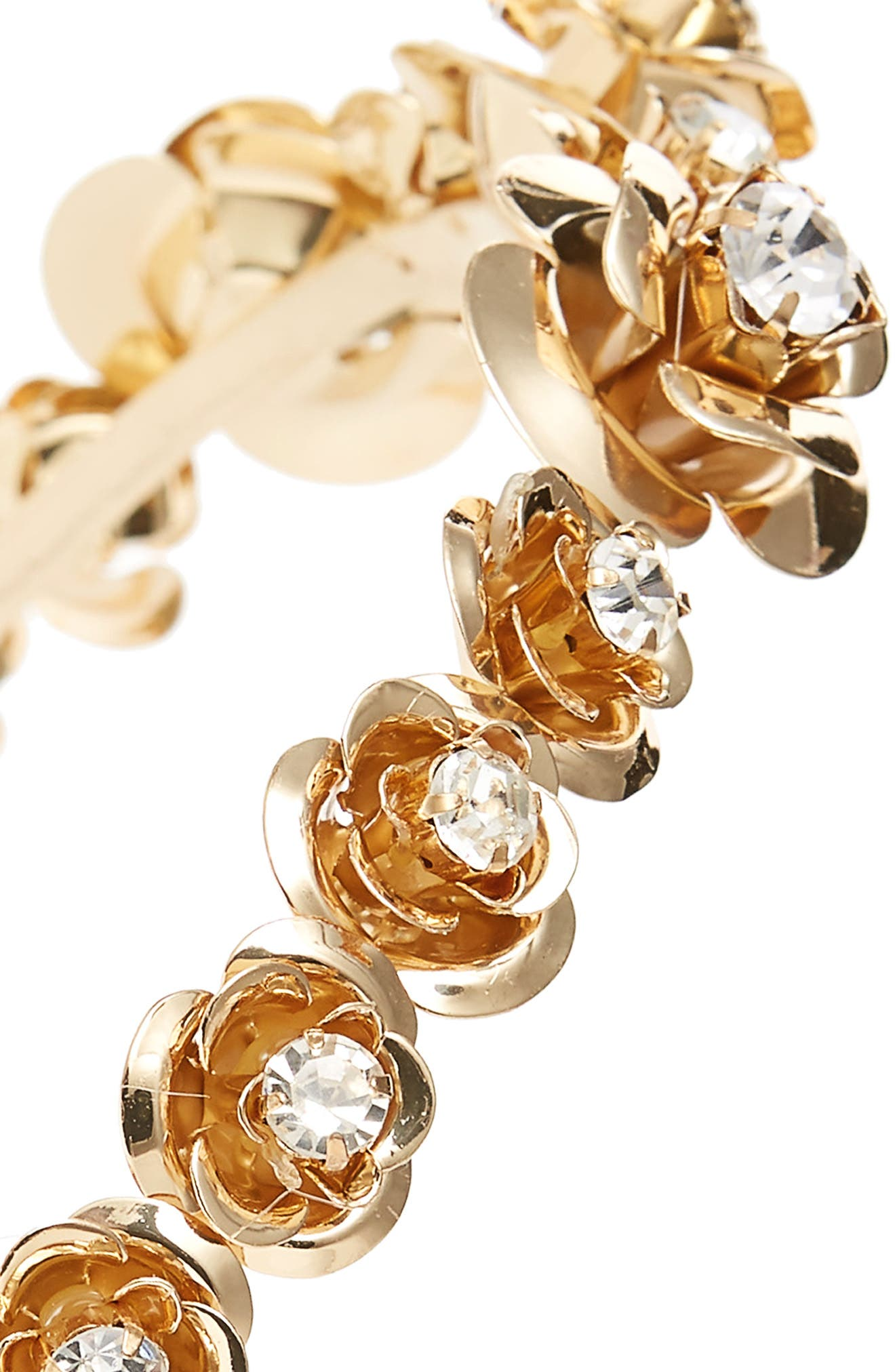Crystal Embellished Flower Headband,                             Alternate thumbnail 2, color,                             Gold