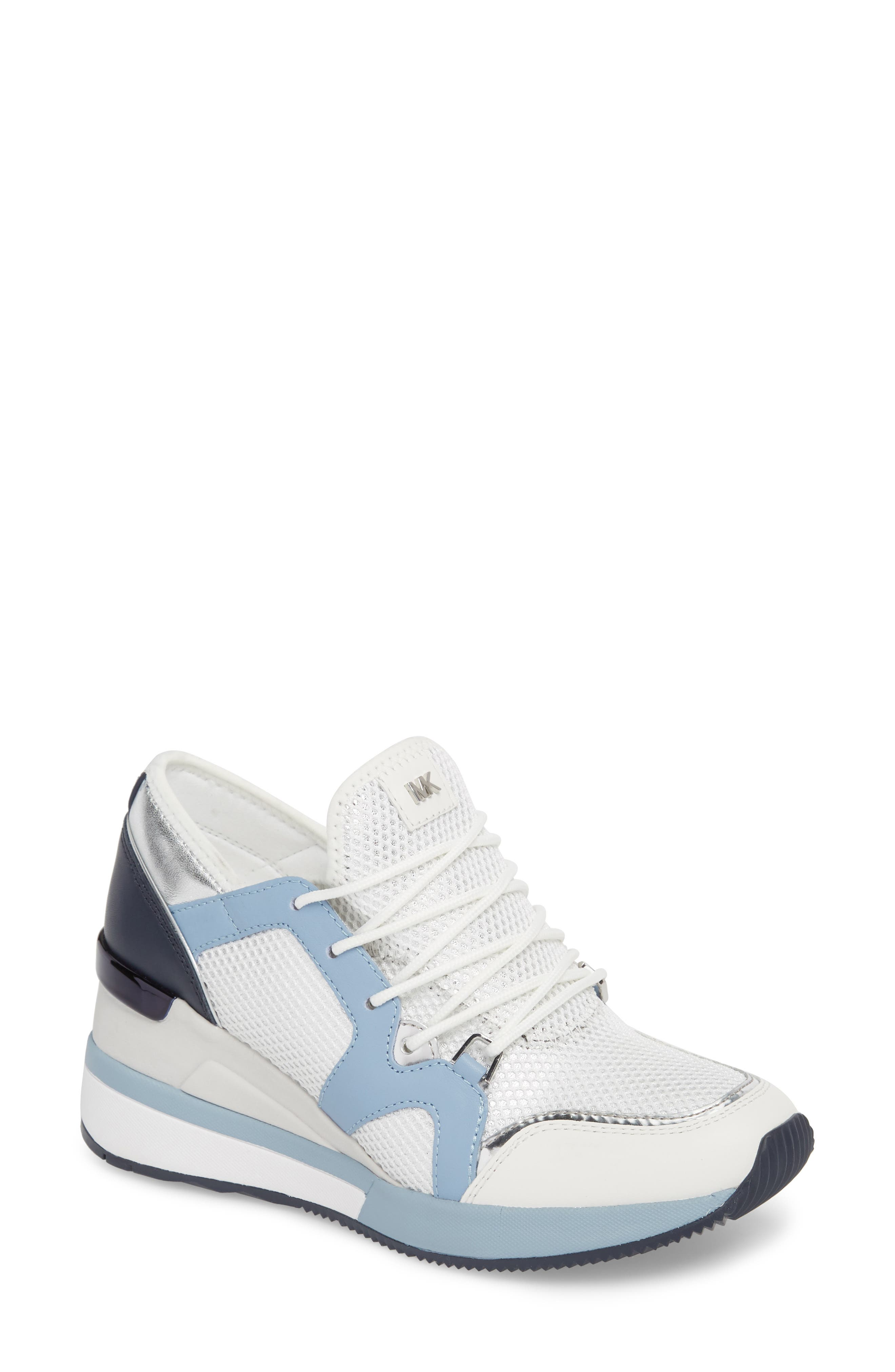 Scout Wedge Sneaker,                             Main thumbnail 1, color,                             Optic White/Blue