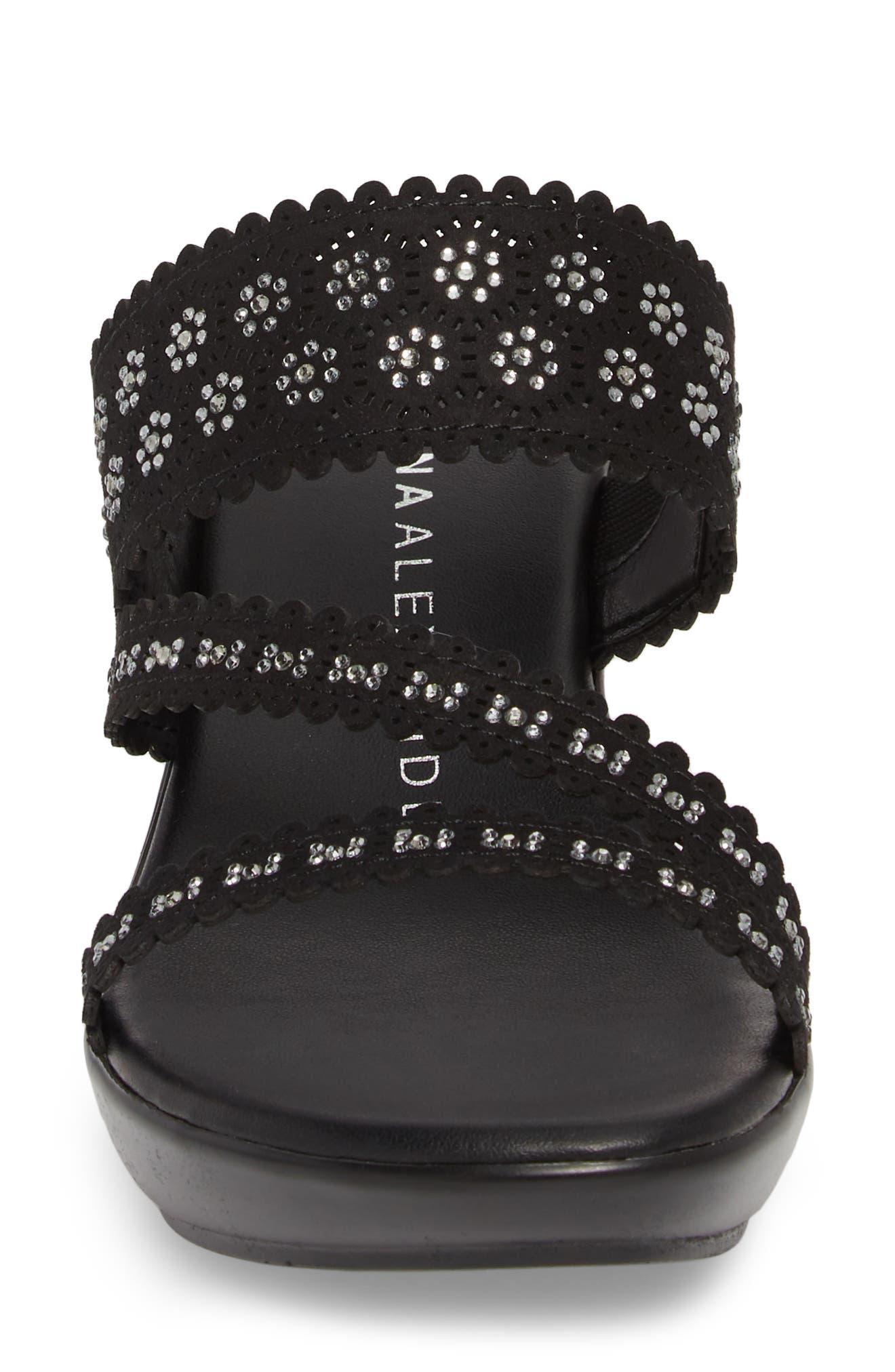 Poppy Wedge Sandal,                             Alternate thumbnail 4, color,                             Black Fabric