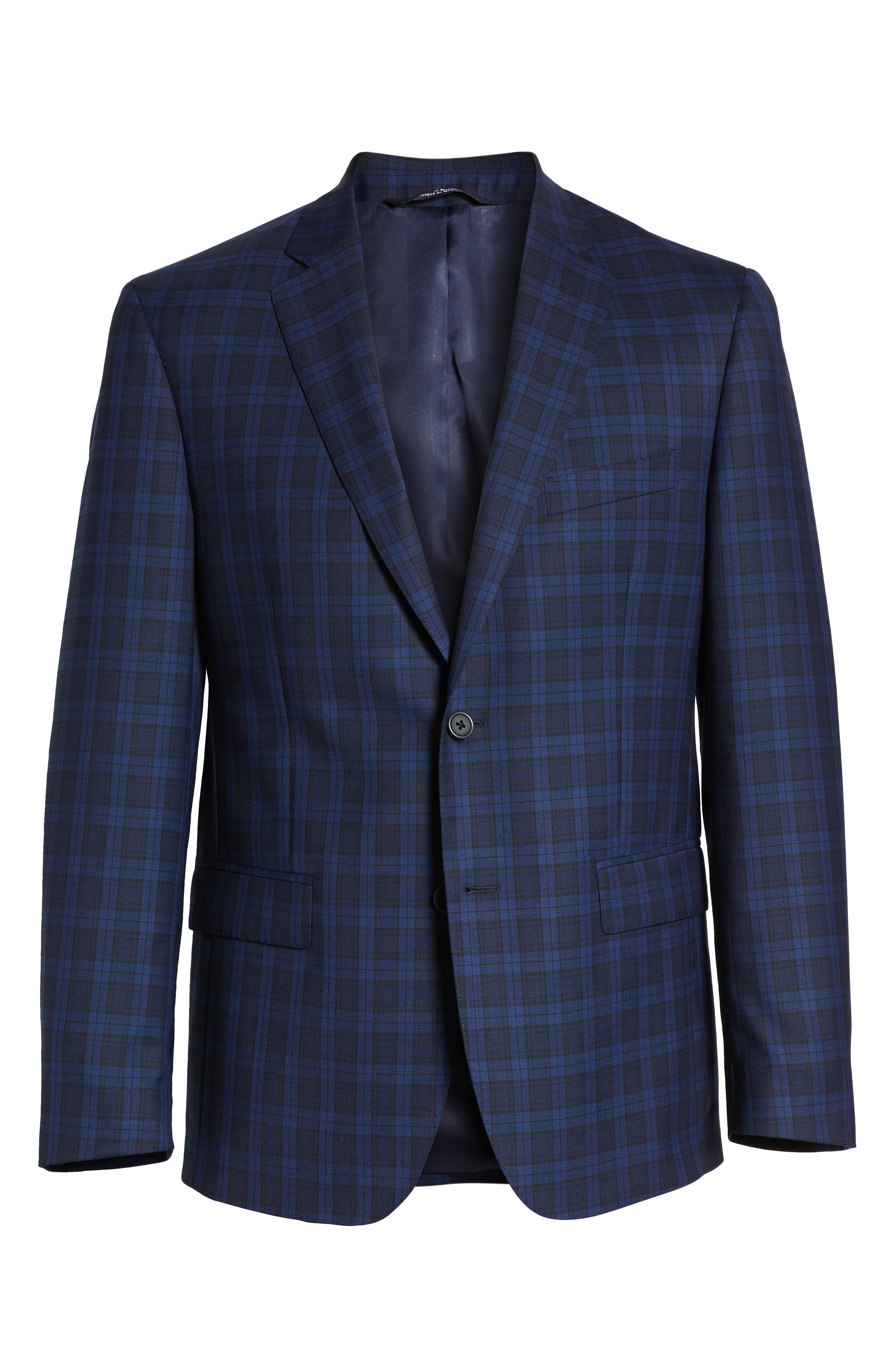 Traditional Fit Plaid Wool Sport Coat,                             Alternate thumbnail 6, color,                             Blue