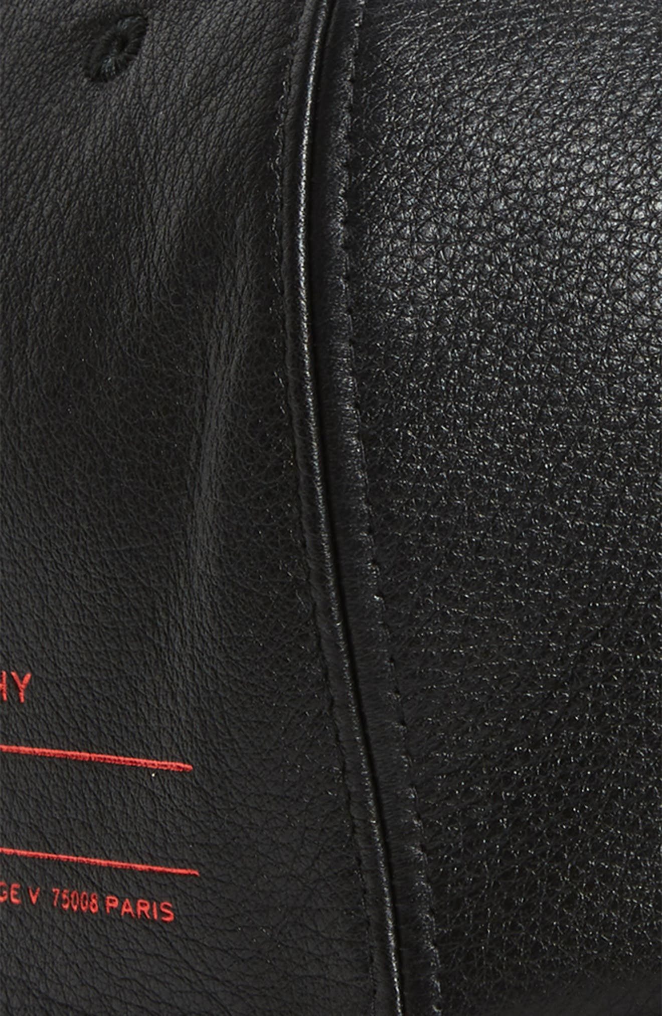 Leather Ball Cap,                             Alternate thumbnail 3, color,                             Black/ White