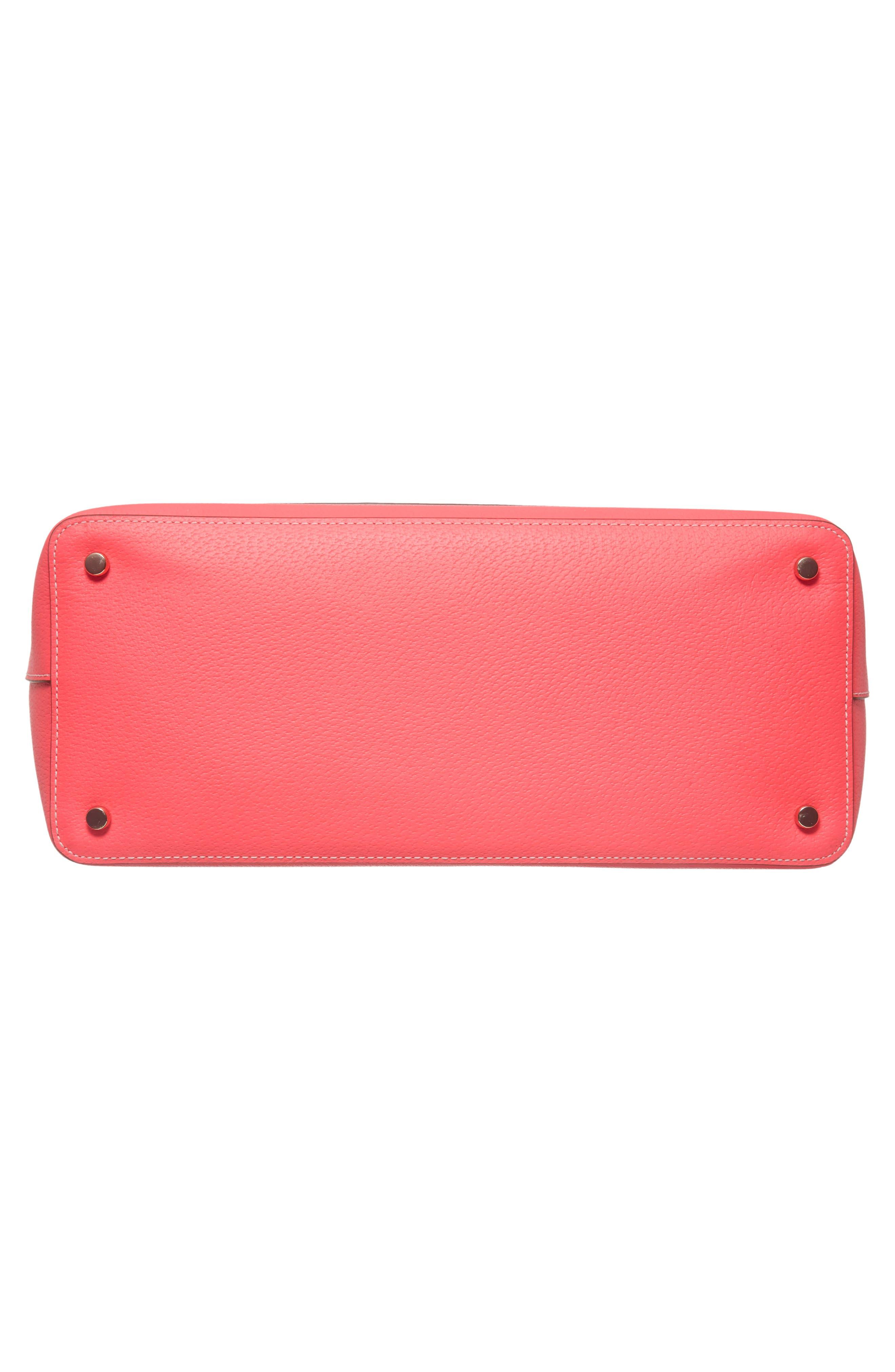 thompson street - kimberly leather tote,                             Alternate thumbnail 5, color,                             Bright Flamingo