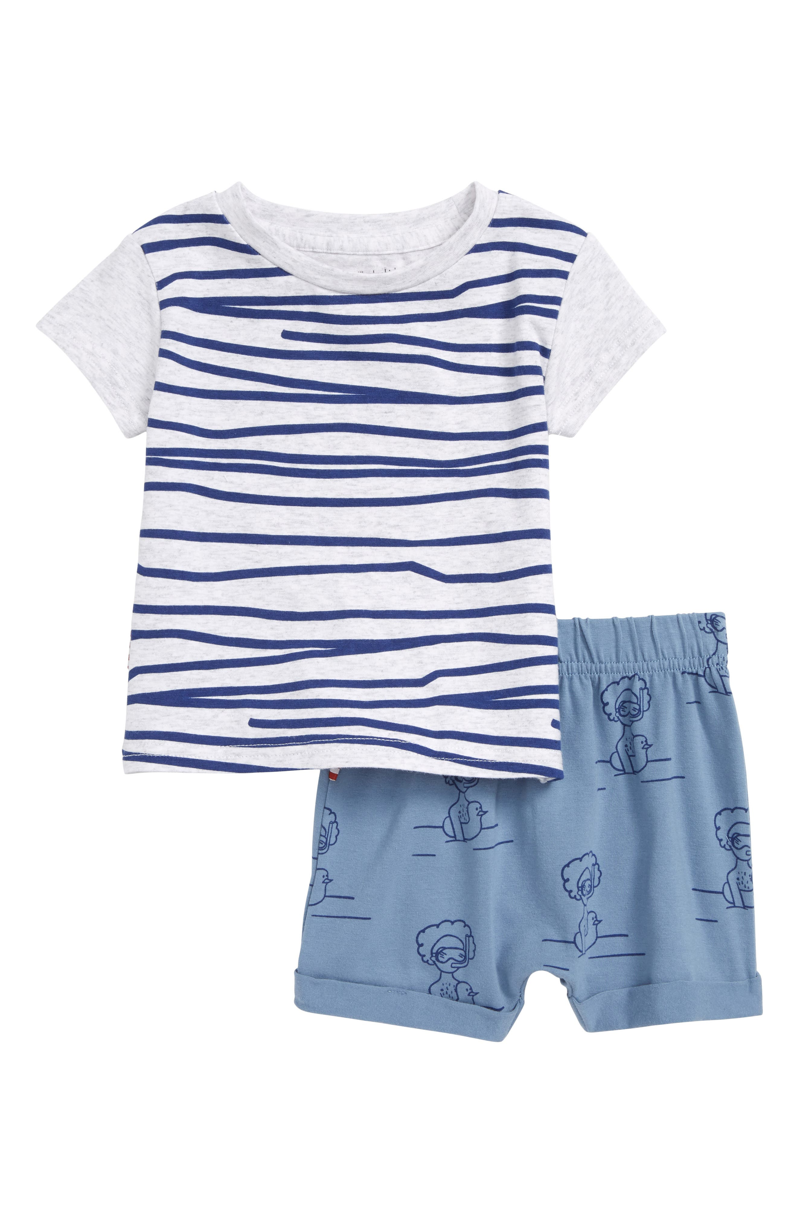 Stripe Tee & Print Shorts Set,                             Main thumbnail 1, color,                             Grey/ Blue