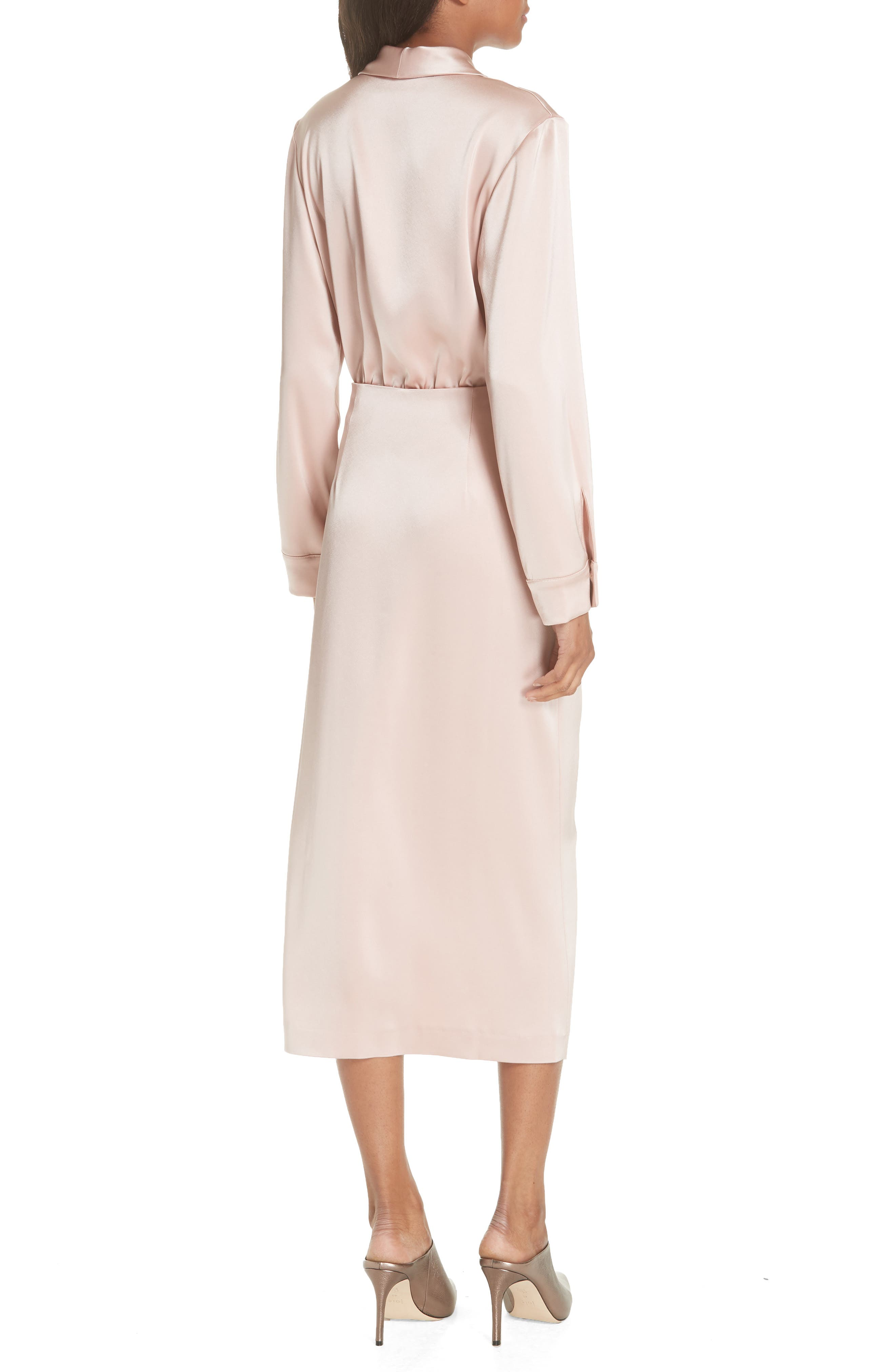 Ezra Satin Wrap Dress,                             Alternate thumbnail 2, color,                             Desert Rose