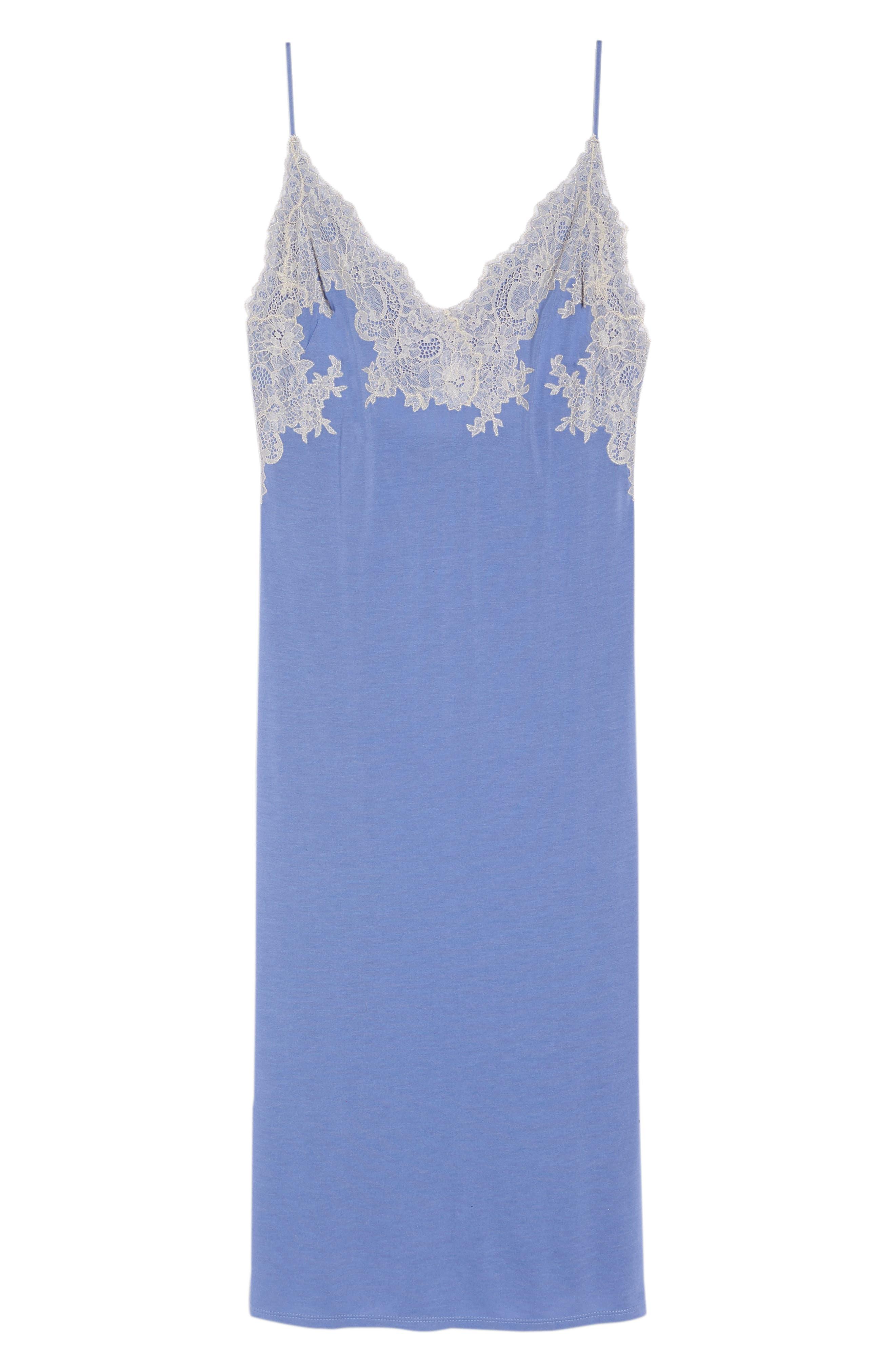 Luxe Shangri-La Nightgown,                             Alternate thumbnail 6, color,                             Wedgewood