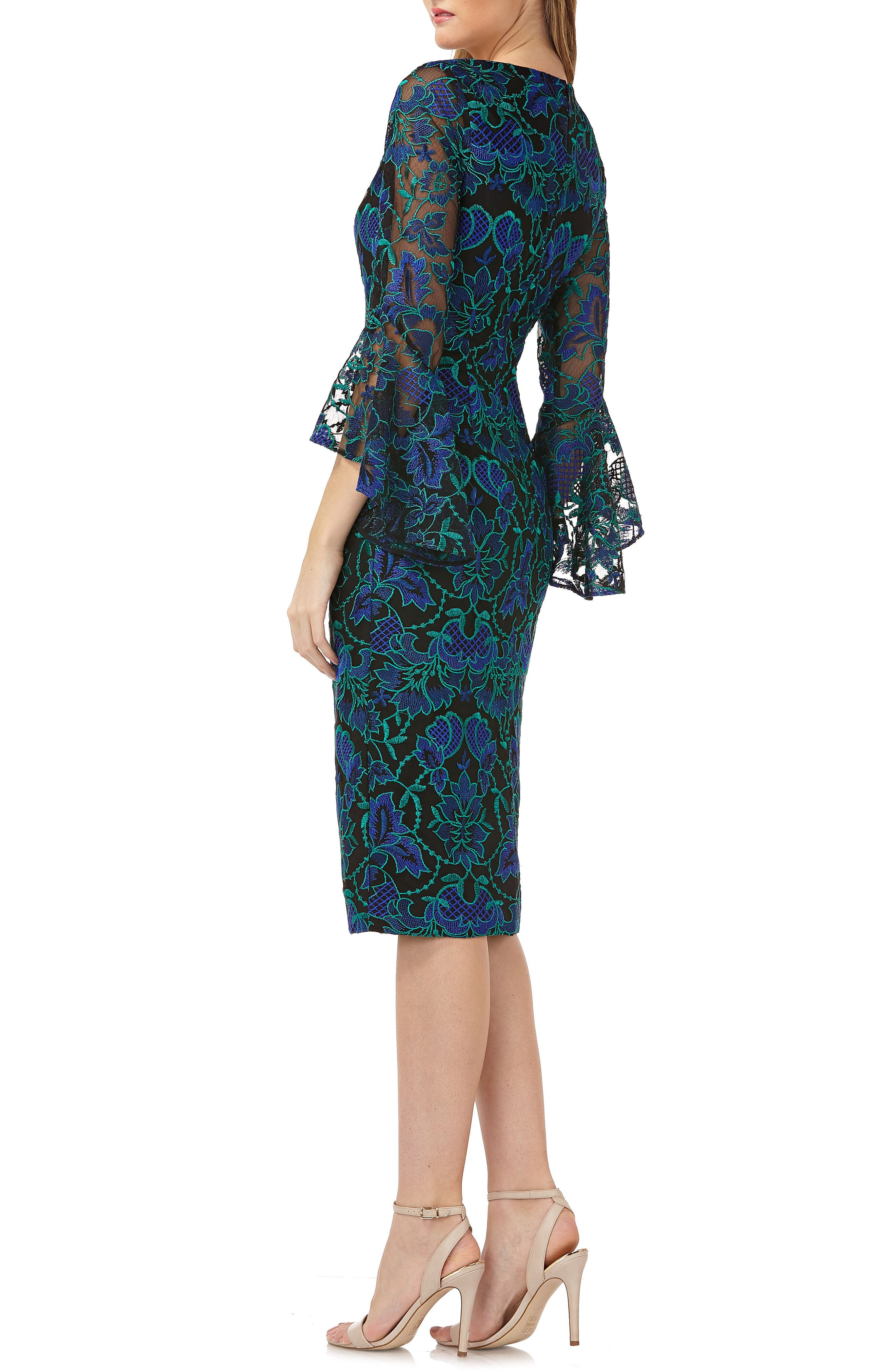 Embroidered Sheath Dress,                             Alternate thumbnail 2, color,                             Blue Multi