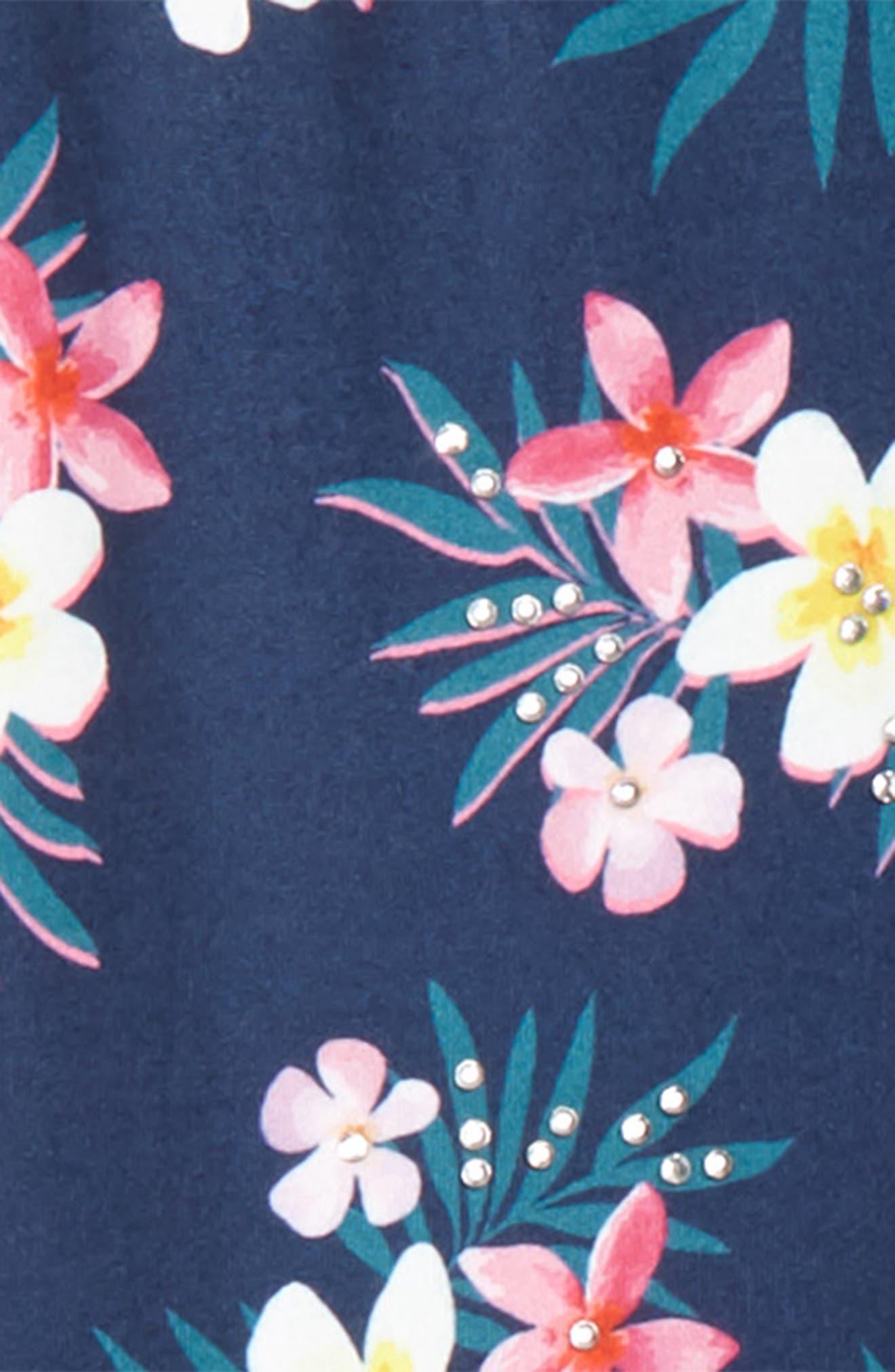 Embellished Floral Print Leggings,                             Alternate thumbnail 2, color,                             Navy