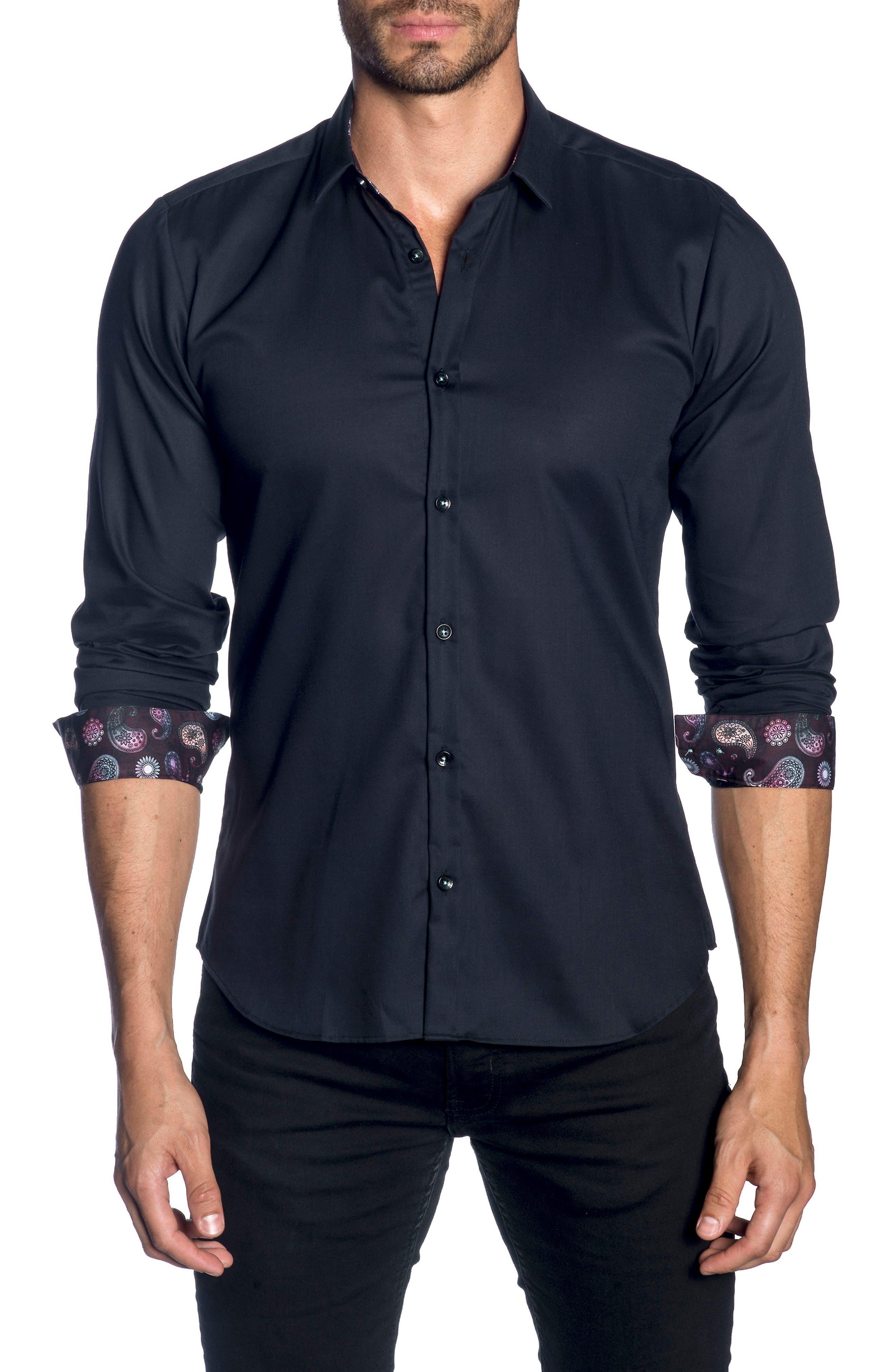 Trim Fit Sport Shirt,                             Main thumbnail 1, color,                             Black