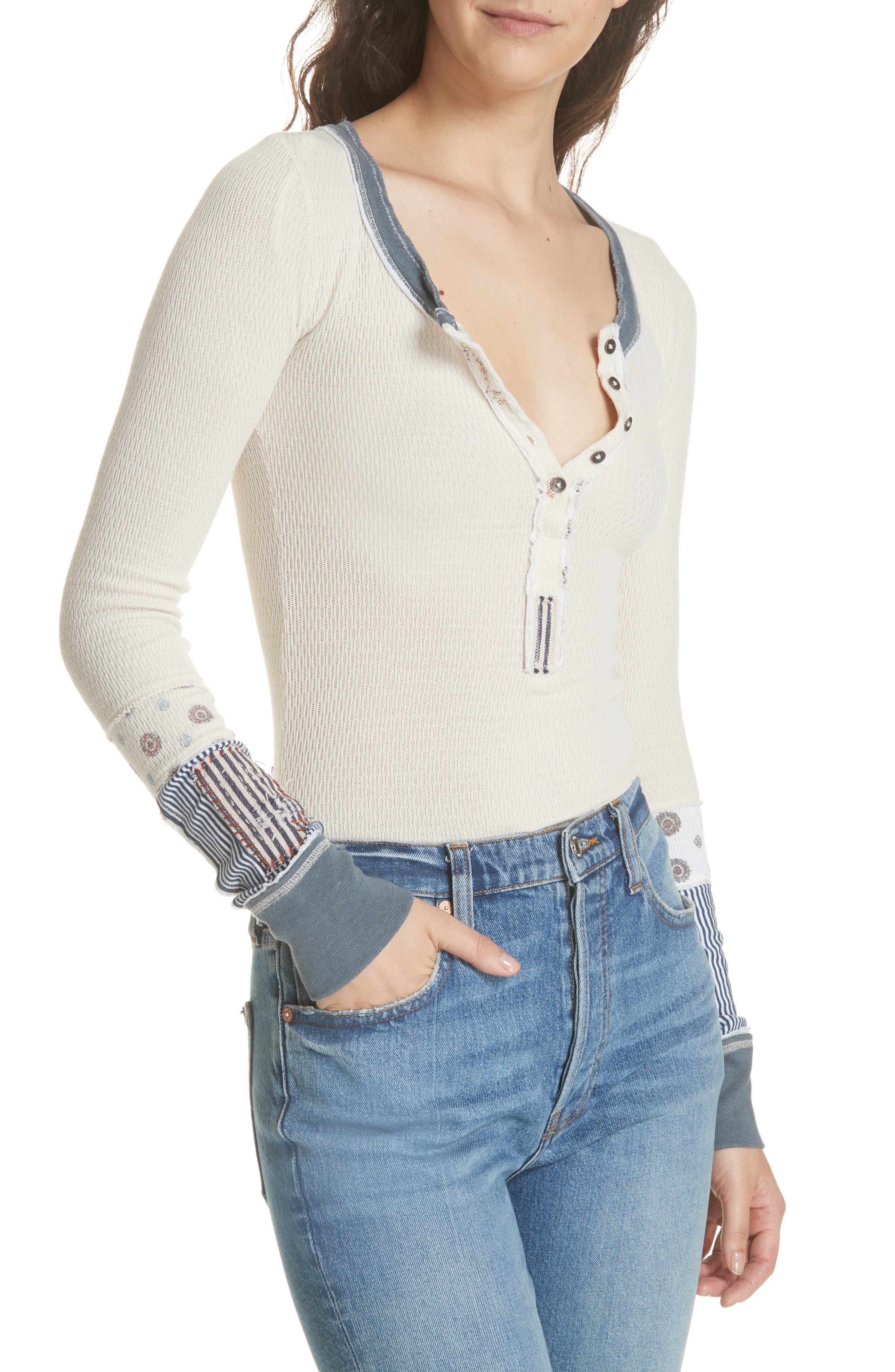 We the Free by Free People Railroad Henley Top,                             Alternate thumbnail 4, color,                             Ivory