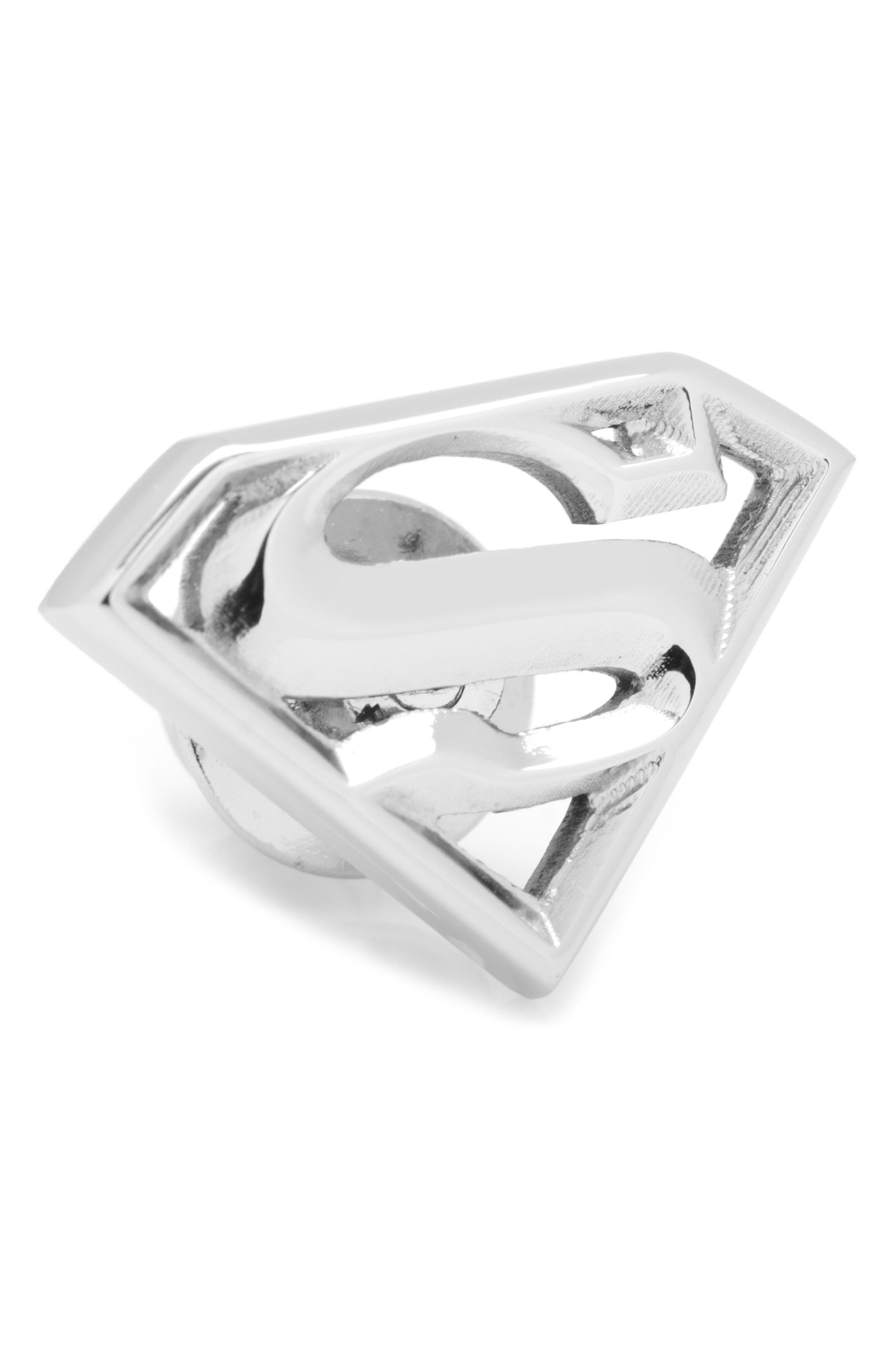 Superman Lapel Pin,                         Main,                         color, Silver